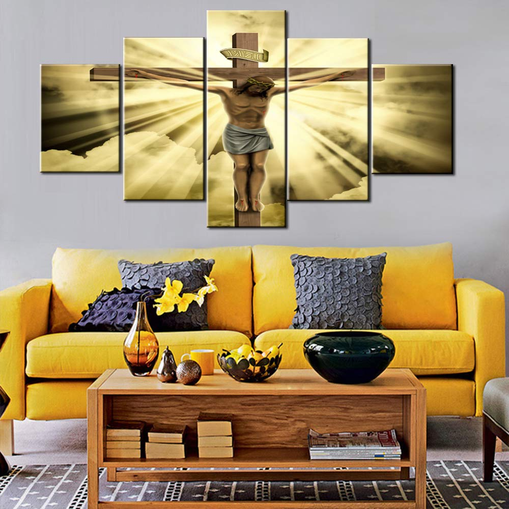 Most Recent Amazon: House Decorations Living Room Wall Decor Jesus Crucified With Regard To Raised Star Wall Decor (Gallery 20 of 20)