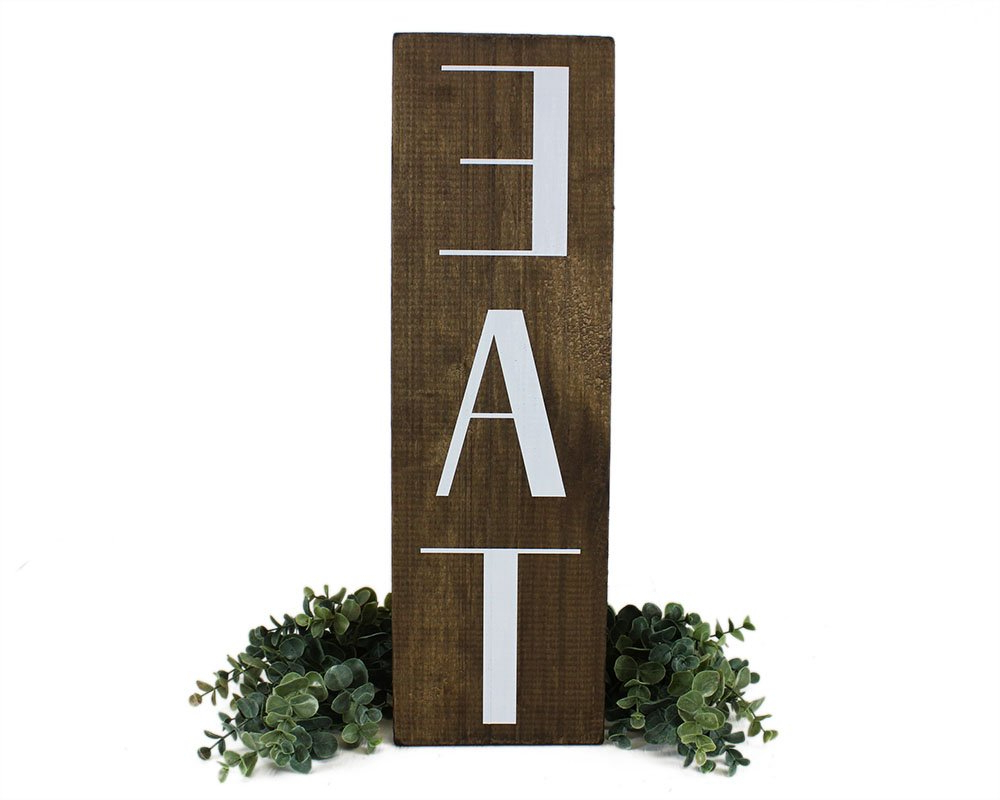 "Most Recent Grey ""eat"" Sign With Rebar Decor With Regard To Amazon: Elegant Signs Kitchen Eat Sign Farmhouse Decor: Home (Gallery 11 of 20)"