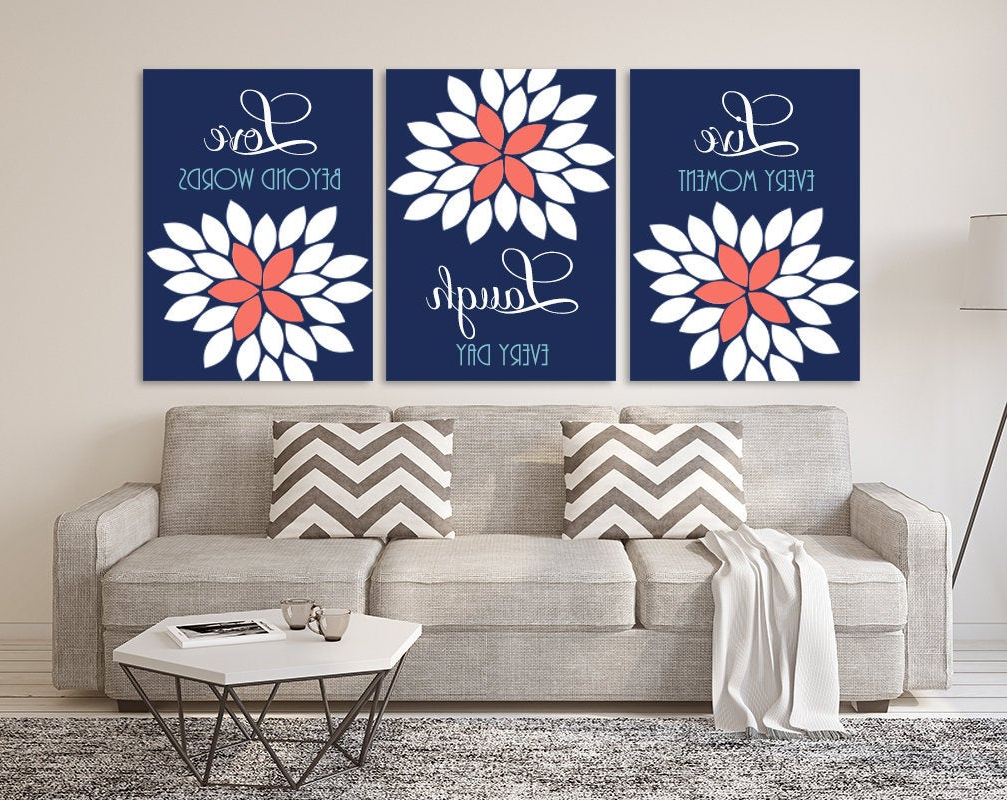 Most Recent Live Laugh Love Wall Art Navy Coral Aqua Bedroom Quote Wall (View 19 of 20)