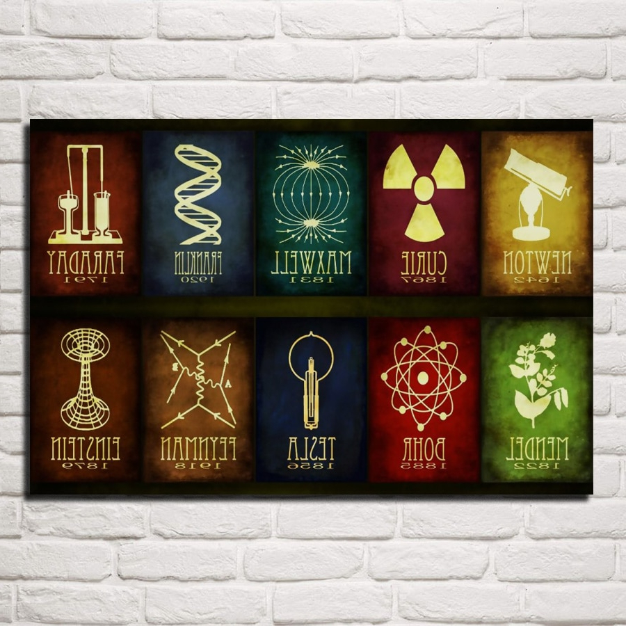 Most Recent Maxwell Wood And Metal Wall Decor Inside Science Abstract Artwork Scientist Birth Year Archievement Qr62 Room (View 14 of 20)