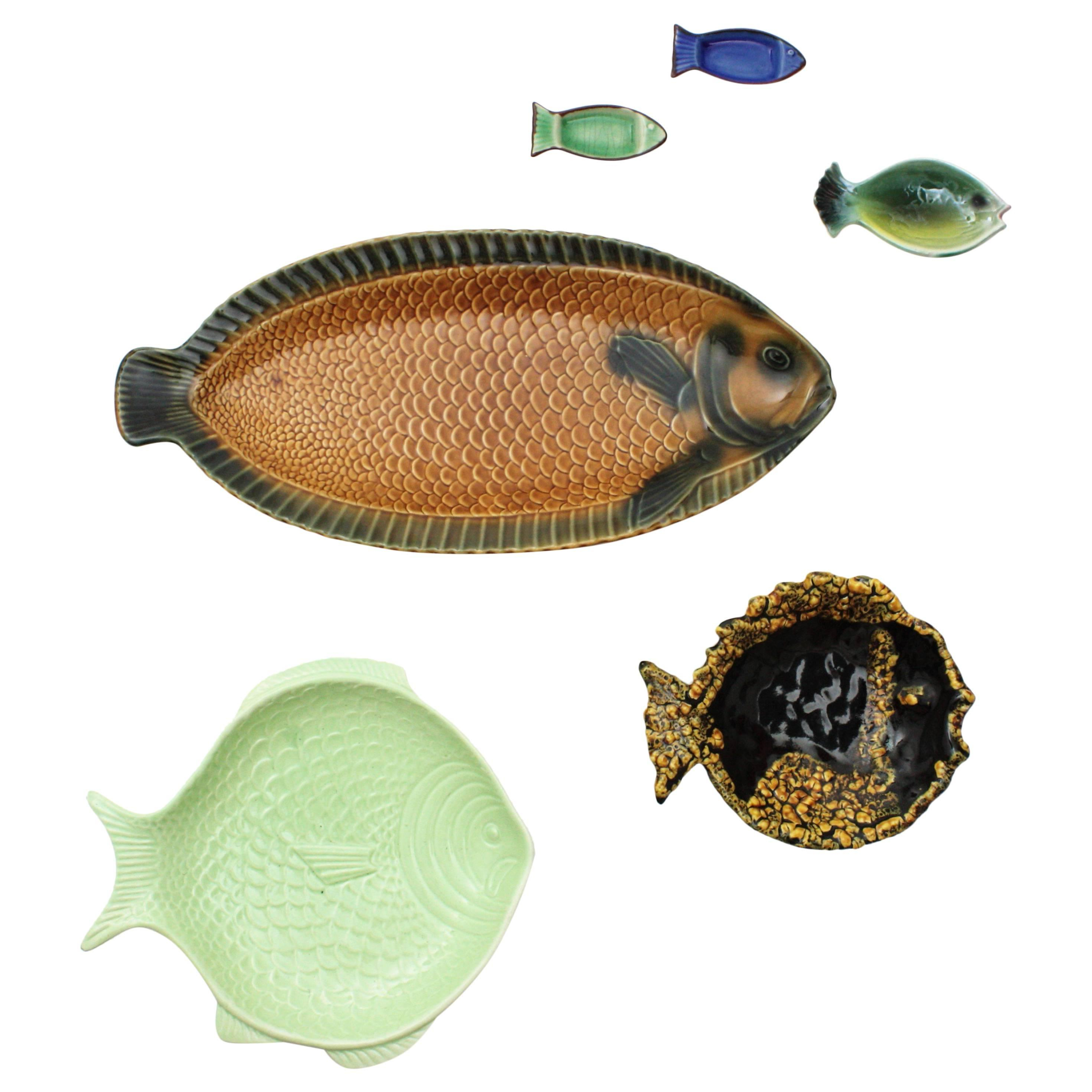 Most Recently Released 20Th Century European Majolica Ceramic 6 Fish Plates Wall Decoration Inside Ceramic Blue Fish Plate Wall Decor (Gallery 11 of 20)