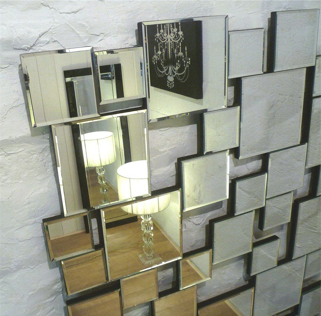 "Most Recently Released Earthquake Silver Modern Rectangle Facet Wall Mirror 48"" X 32"" X Regarding Pennsburg Rectangle Wall Mirror By Wade Logan (View 12 of 20)"