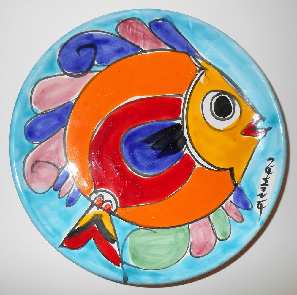 "Most Up To Date Ceramic Blue Fish Plate Wall Decor For La Musa Fish Plate Wall Decor 10"" Red Yellow Blue Majolica Signed (View 14 of 20)"