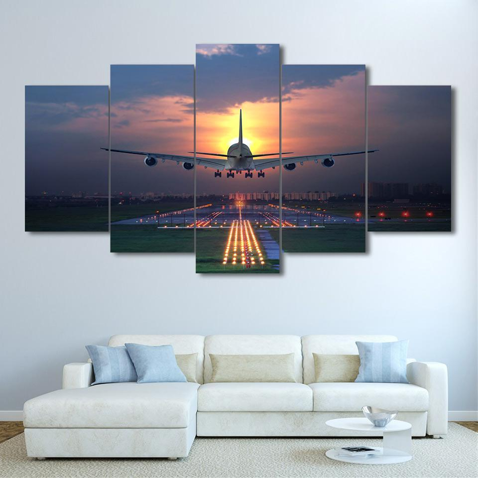 Most Up To Date Flight Plane Landing In Sunset 5 Piece Canvas Art Print Picture Wall In Landing Art Wall Decor (Gallery 1 of 20)