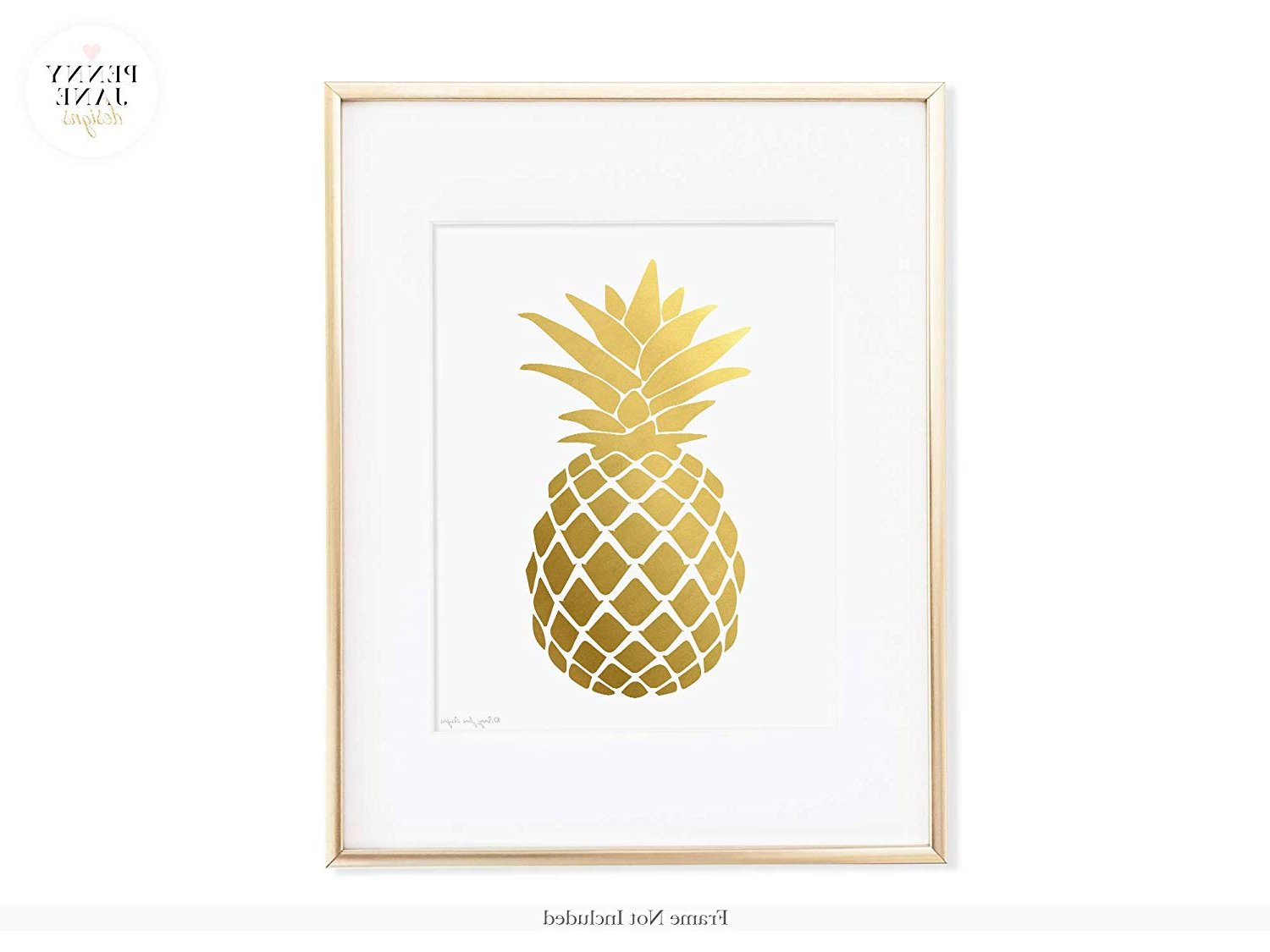 Most Up To Date Pineapple Wall Decor Intended For Amazon: Pineapple Print, Gold Pineapple Print, Pineapple Wall (Gallery 13 of 20)