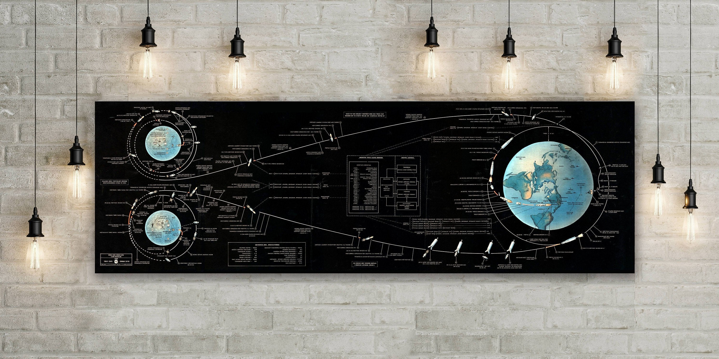 Nasa's The Apollo Lunar Landing Chart Space Exploration Wall Map Inside Well Known Landing Art Wall Decor (Gallery 18 of 20)