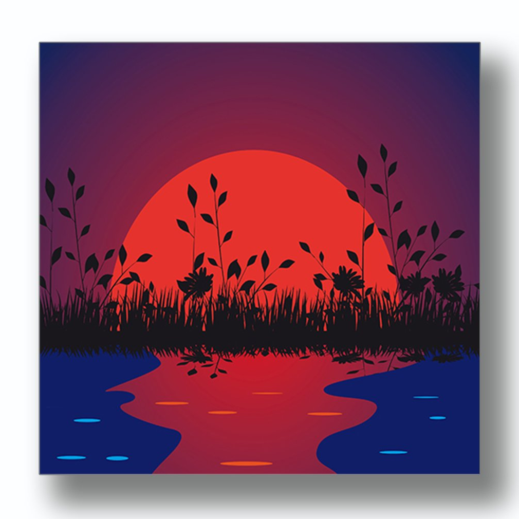 Newest Amazon: Nature Against The Setting Sun Aluminum Metal Photo With Regard To Nature Metal Sun Wall Decor (View 16 of 20)