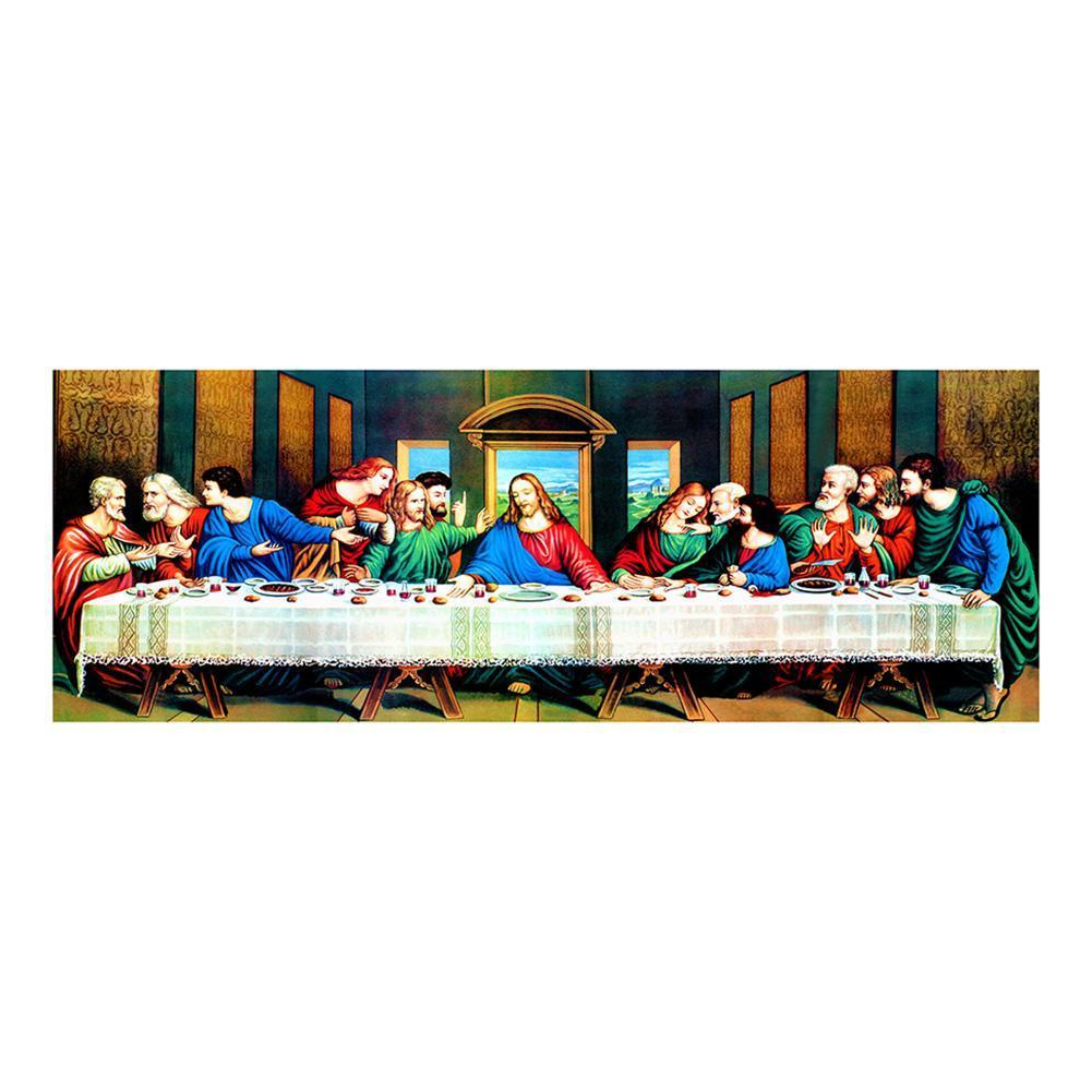 Newest Panel Wood Wall Decor Sets (Set Of 2) Inside Alloyseed 5D Diy Full Drill Diamond Painting The Last Supper Cross Stitch  Embroidery (Gallery 17 of 20)