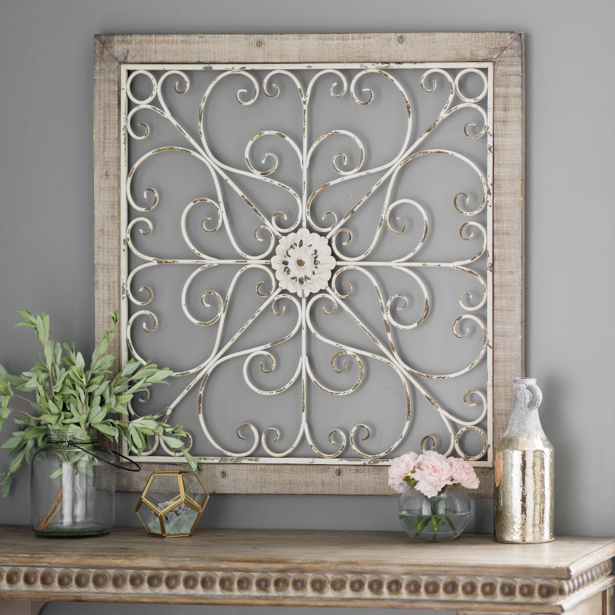 Newest Product Details Daphne Ornate Scroll Wood And Metal Wall Plaque In Scroll Framed Wall Decor (View 13 of 20)
