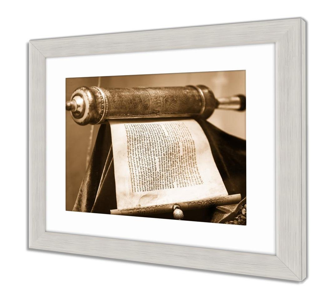 Newest Scroll Framed Wall Decor Regarding Amazon: Ashley Framed Prints Torah Scroll, Wall Art Home (View 14 of 20)