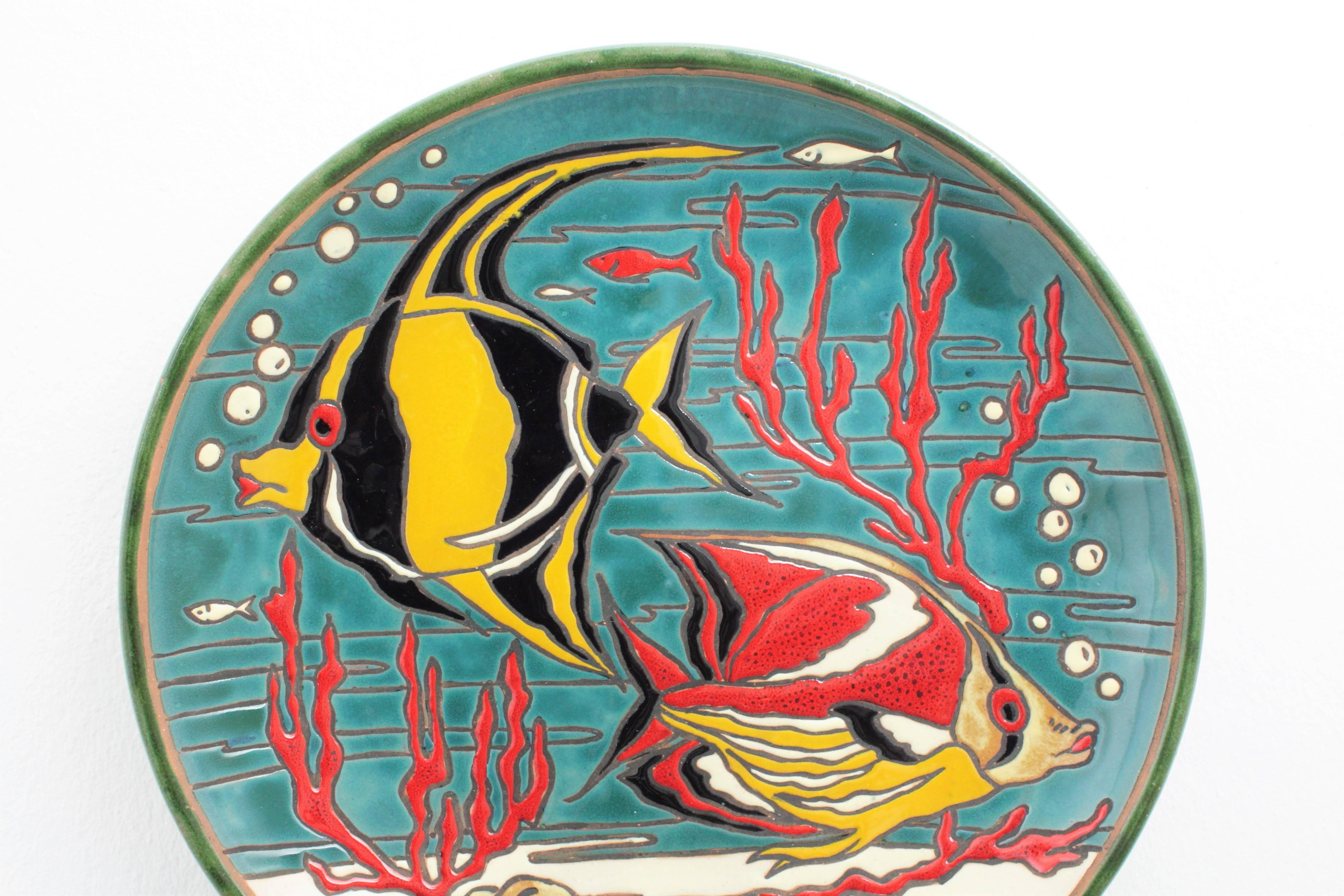 Newest Spanish 1950s Spanish Colorful Glazed Ceramic Corals And Fishes With Regard To Ceramic Blue Fish Plate Wall Decor (View 19 of 20)