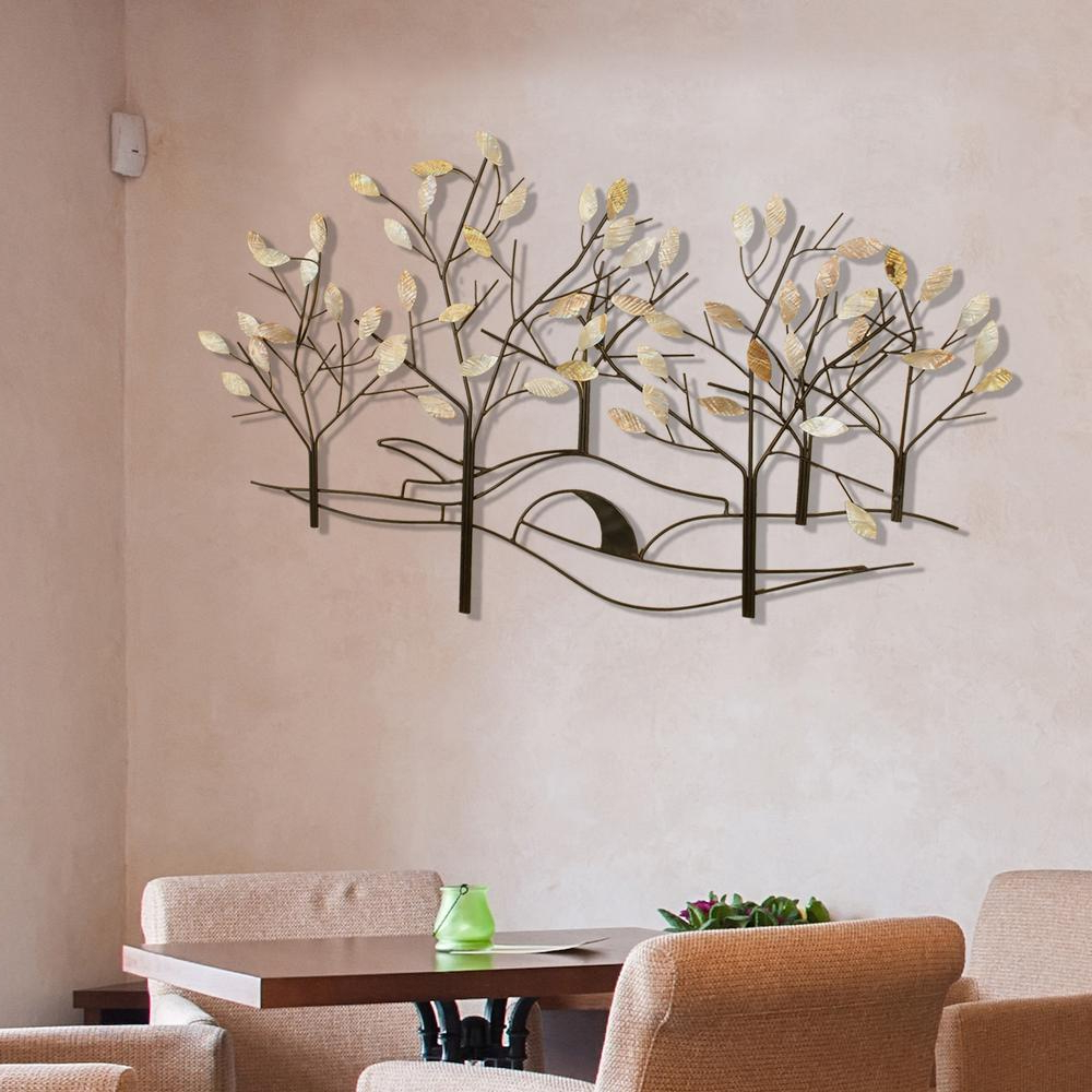 Oil Rubbed Bronze Tree Lined Street Metal Work Wall Decor 2158 – The Regarding Newest Tree Shell Leaves Sculpture Wall Decor (View 3 of 20)