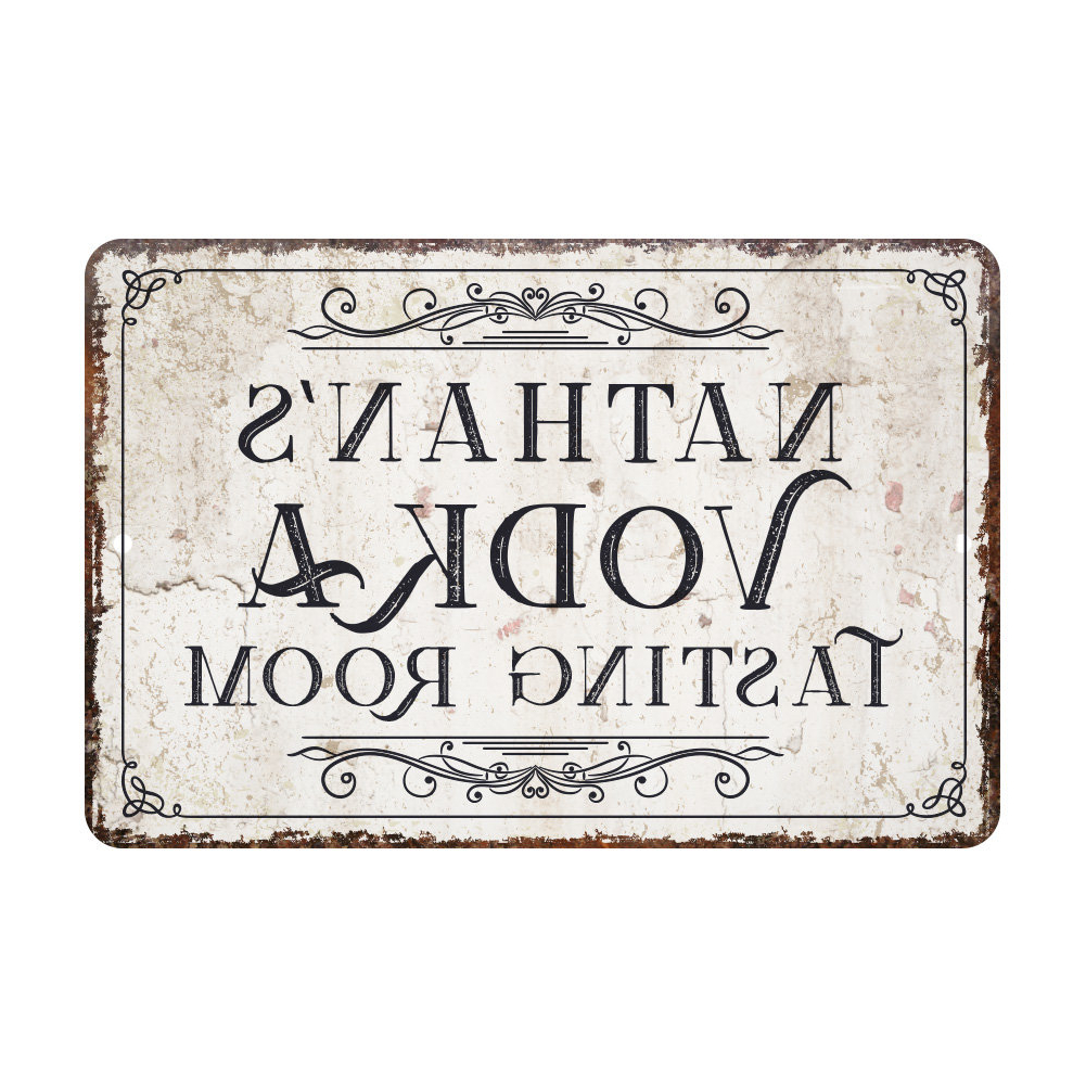 Personalized Mint Distressed Vintage Look Laundry Metal Sign Wall Decor Intended For Recent 4 Wooden Shoes Personalized Vintage Distressed Look Vodka Tasting (View 17 of 20)