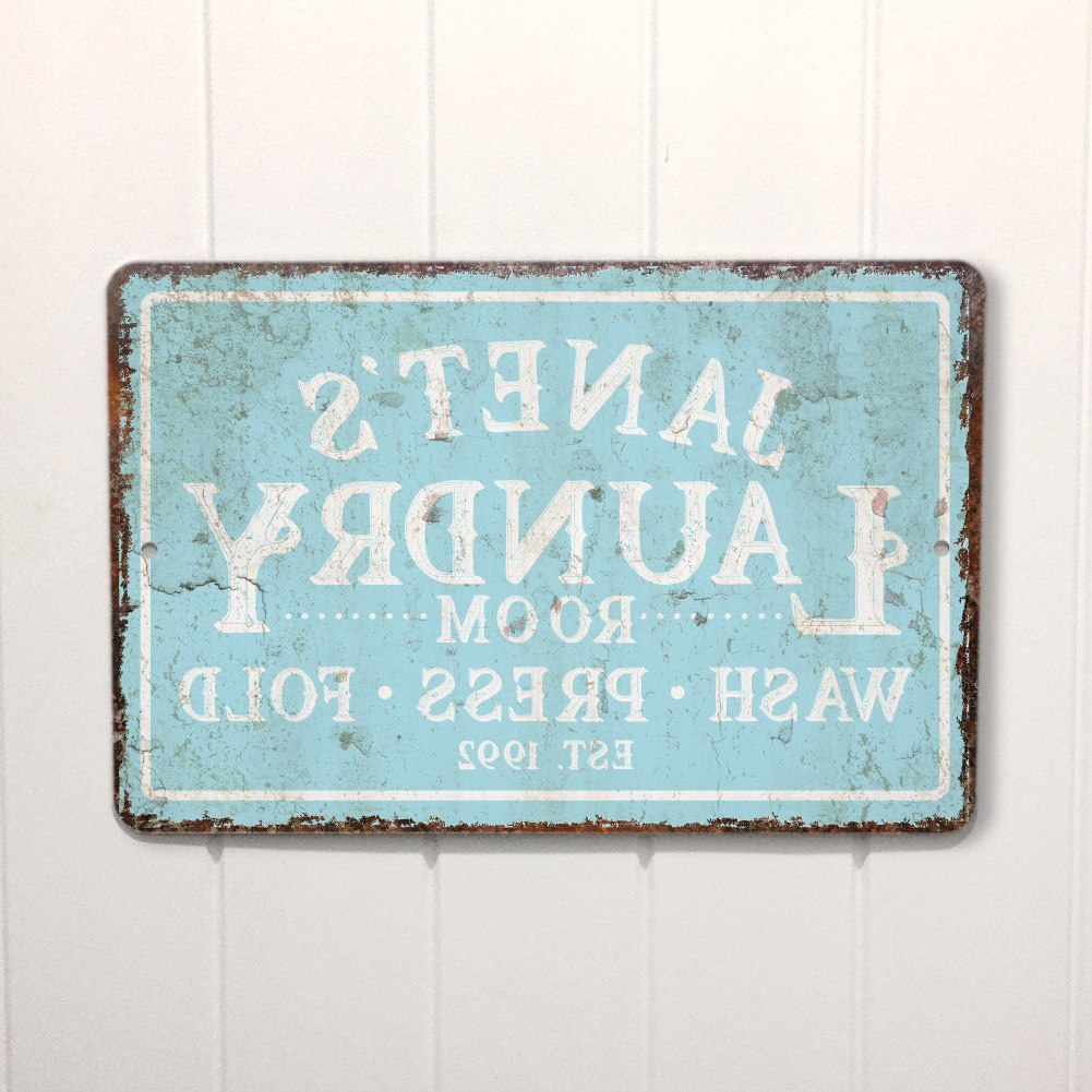 Personalized Mint Distressed Vintage Look Laundry Metal Sign Wall Decor Throughout Recent 4 Wooden Shoes Personalized Mint Distressed Vintage Look Laundry (View 1 of 20)