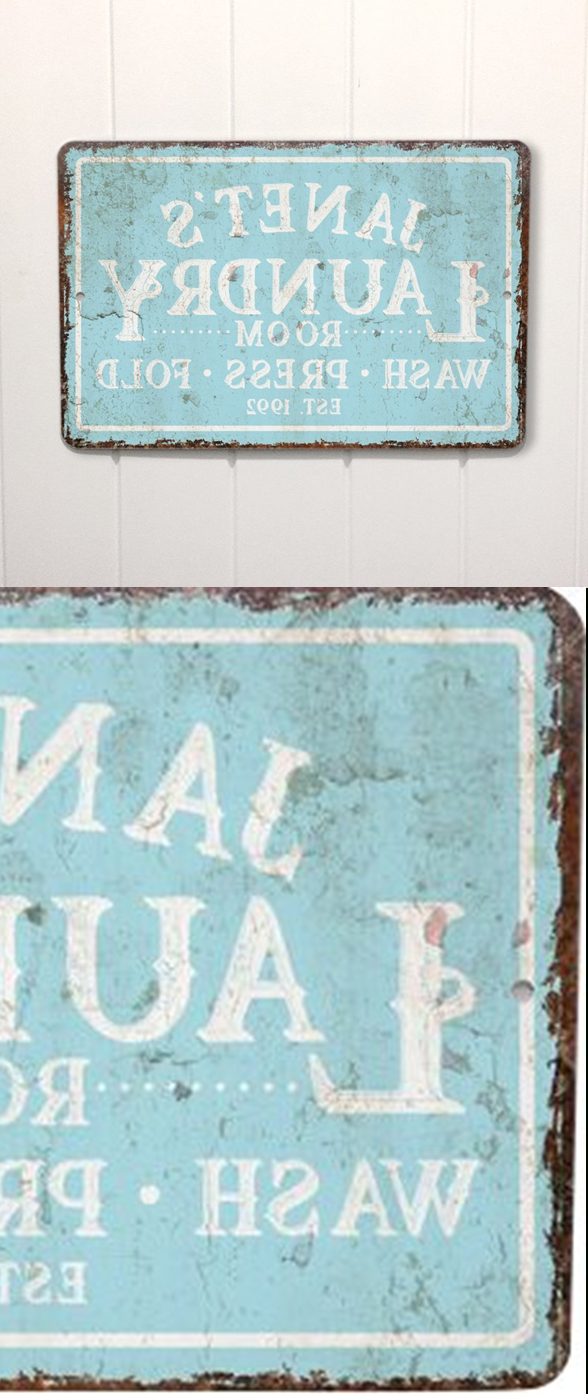 Personalized Mint Distressed Vintage Look Laundry Metal Sign Wall With Regard To Popular Personalized Mint Distressed Vintage Look Laundry Metal Sign Wall Decor (View 3 of 20)