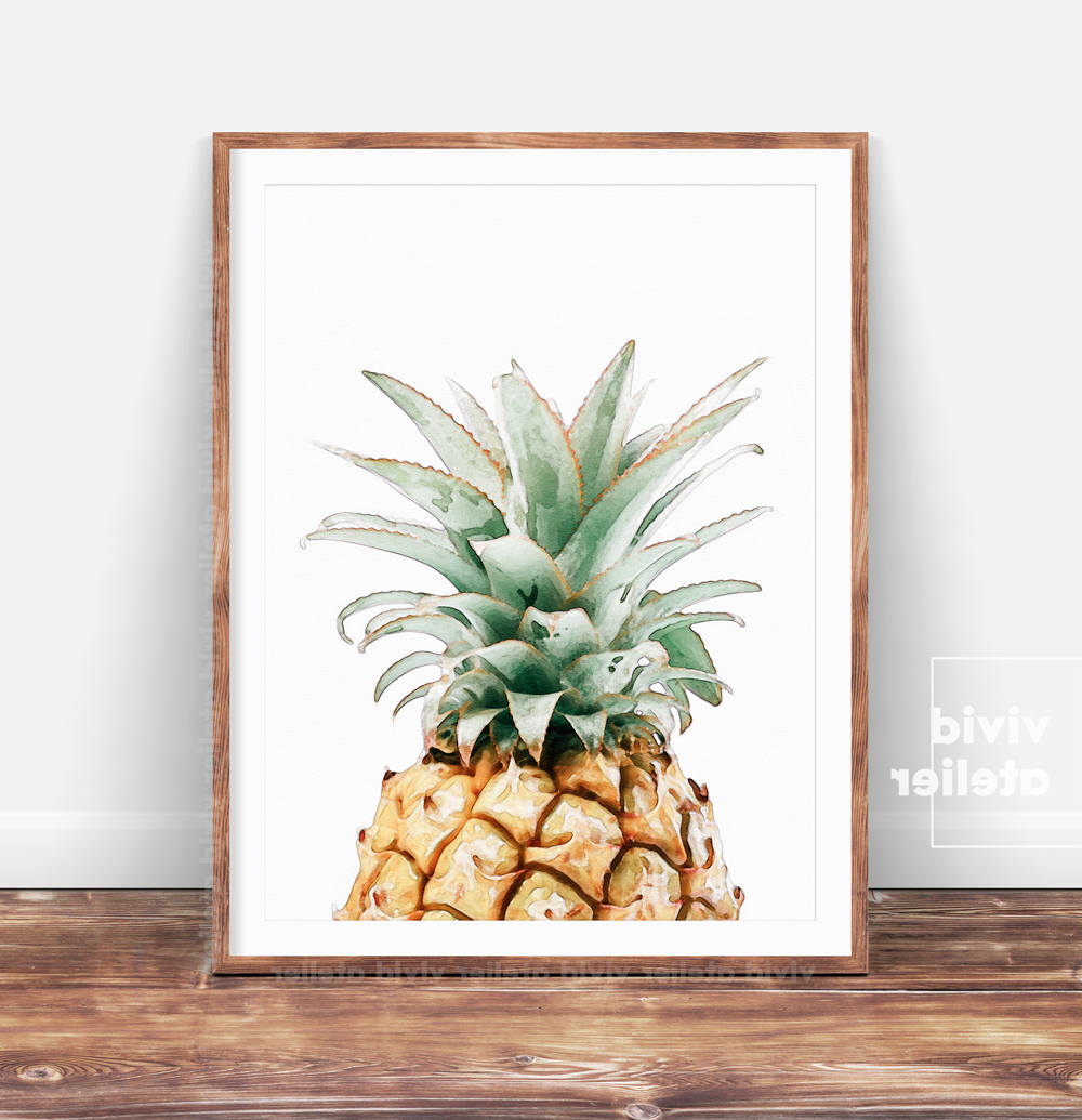 Pineapple Wall Decor Pertaining To 2019 Pineapple Print Pineapple Wall Art Prints Printable Kitchen (View 14 of 20)