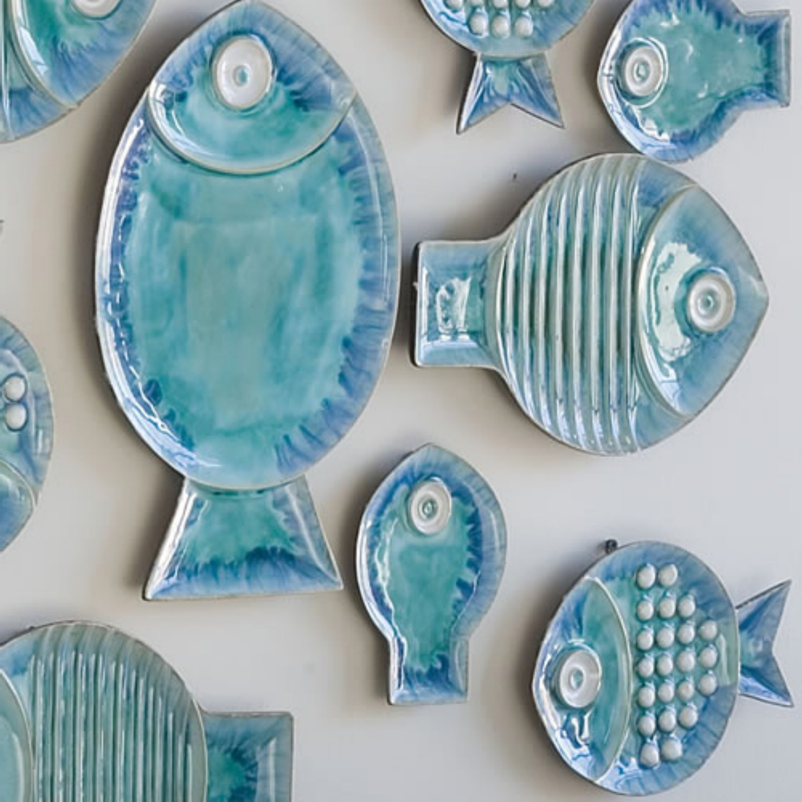 Featured Photo of Ceramic Blue Fish Plate Wall Decor