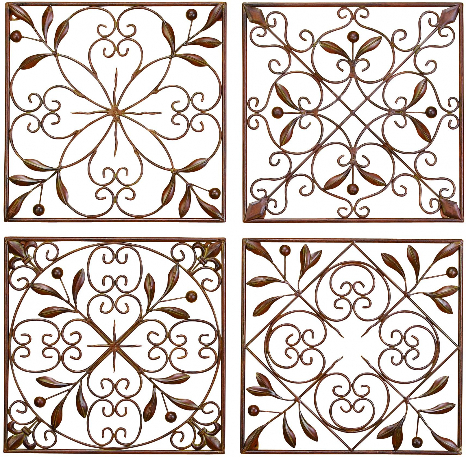 Popular Decmode Rustic Bronze Scrolled Metal Wall Decor – Set Of  (View 11 of 20)
