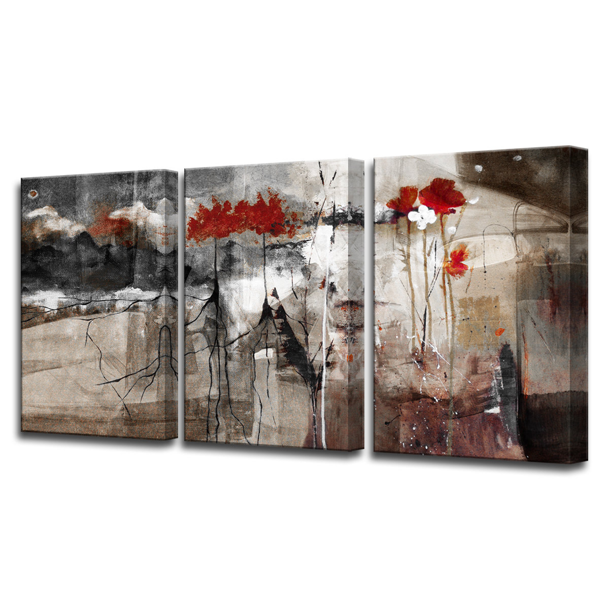 Preferred 3 Piece Wall Decor Sets By Wrought Studio Inside Wrought Studio 'abstract' 3 Piece Print Of Painting On Canvas Set (Gallery 1 of 20)