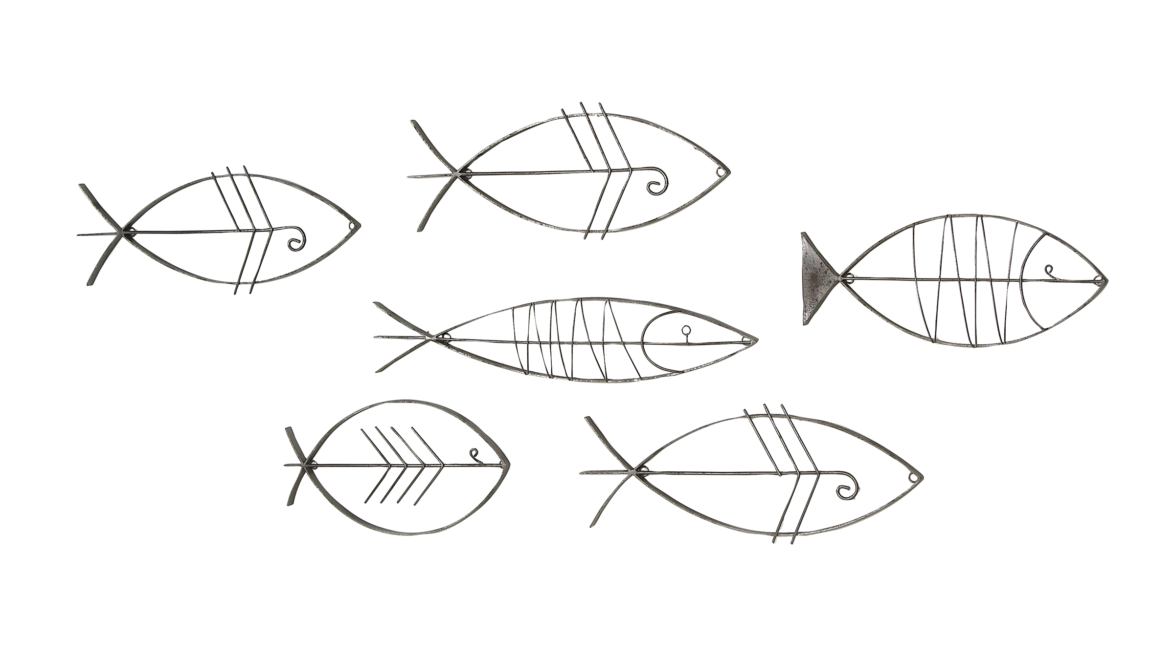 Preferred Decmode Coastal Black Metal Fish Wall Decor – Set Of 6 – Walmart With Coastal Metal Fish Wall Decor (View 19 of 20)