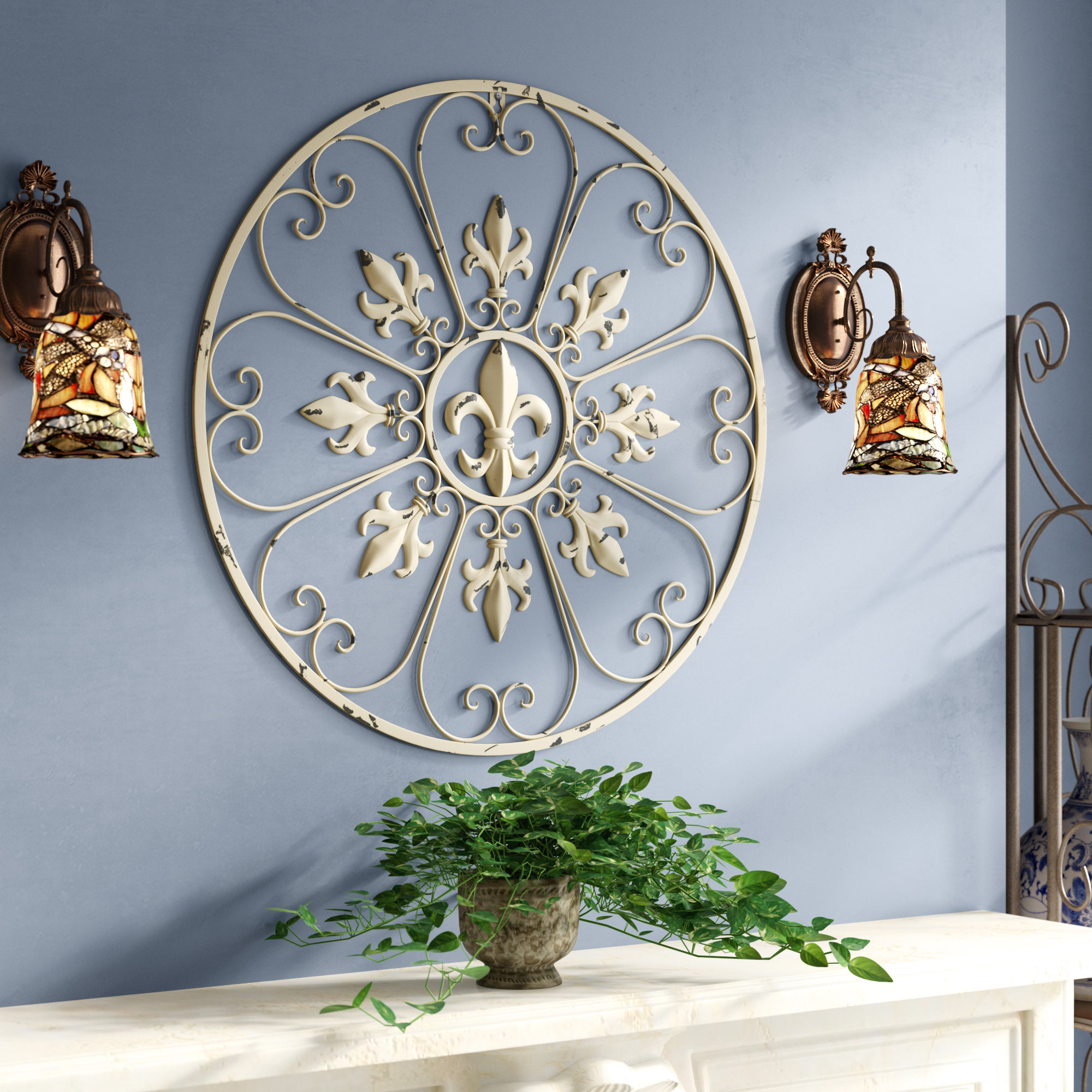 Preferred Fleur De Lis Living Gracie Fleur De Lis Circular Metal Wall Décor With Regard To Metal Wall Decor By Charlton Home (View 15 of 20)