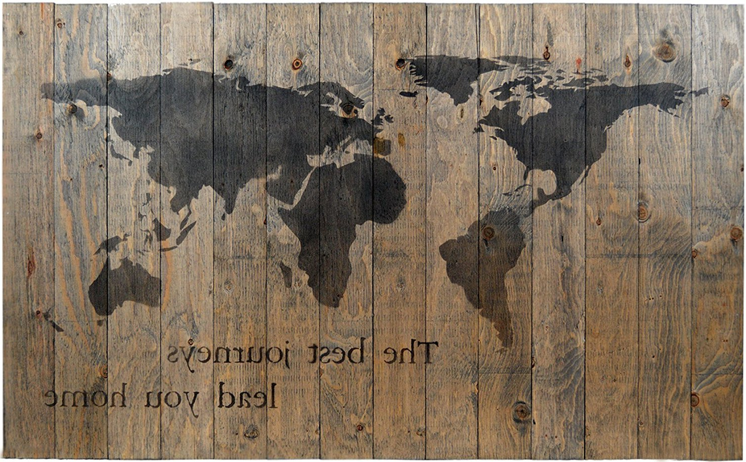 "Preferred In A Word ""welcome"" Wall Decor By Fireside Home In Amazon: World Map Rustic Barn Wood Pallet Sign – The Best (View 14 of 20)"