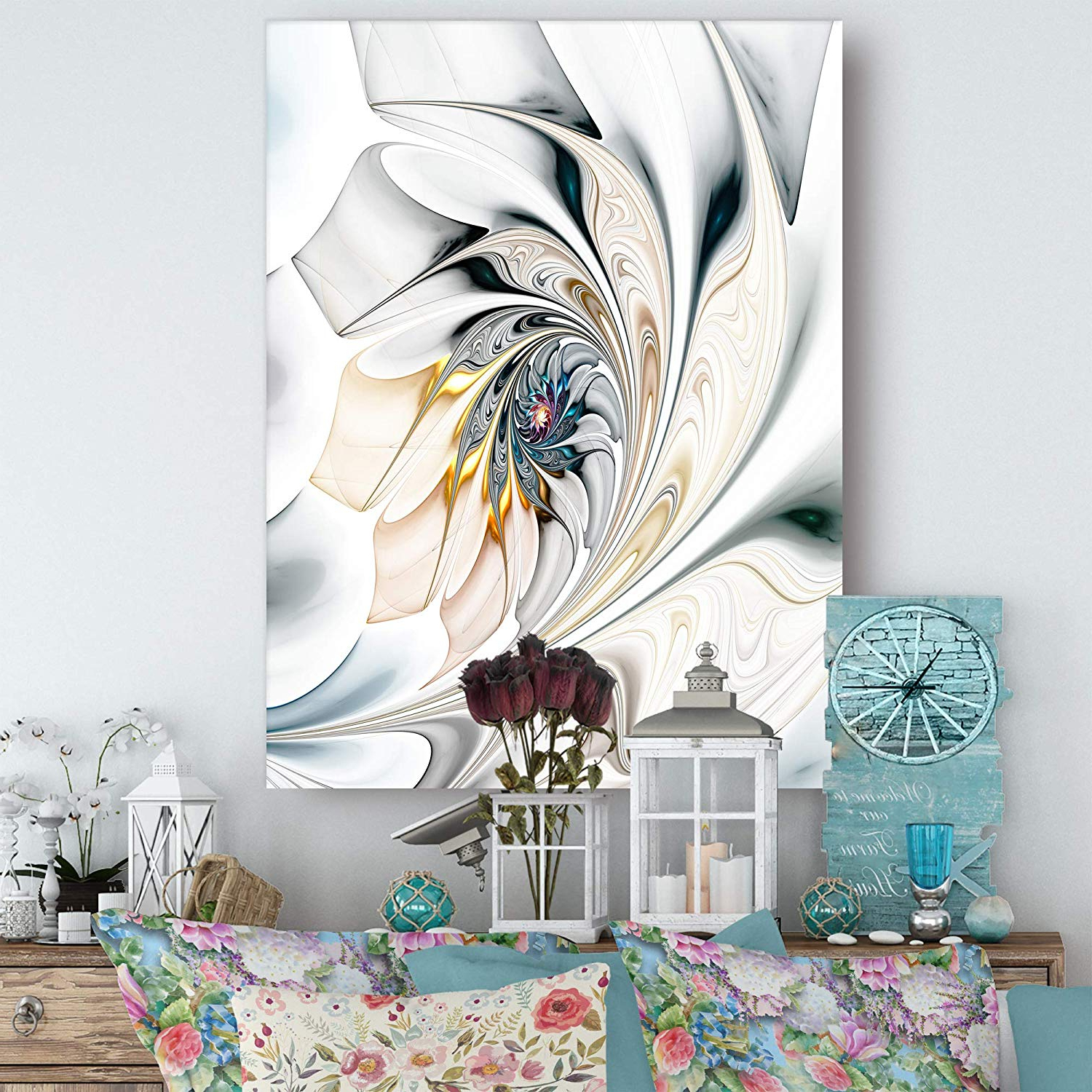 Preferred Metal Wall Decor By Ebern Designs Within Amazon: Design Art White Stained Glass Floral Wall Art Canvas  (View 9 of 20)