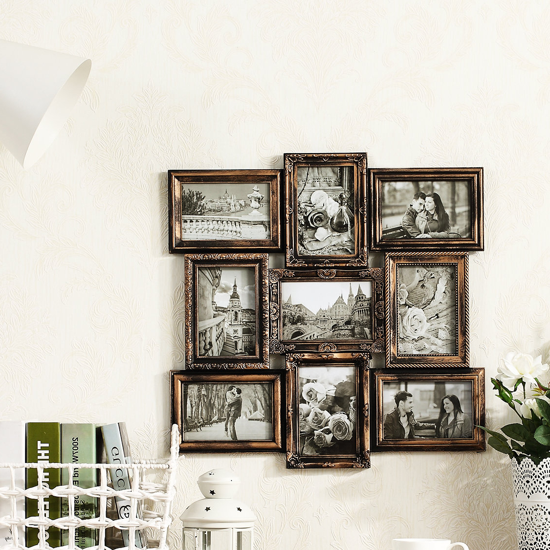 Preferred Millanocket Metal Wheel Photo Holder Wall Decor With Michael Wall Hanging 9 Opening Photo Sockets Picture Frame & Reviews (View 5 of 20)