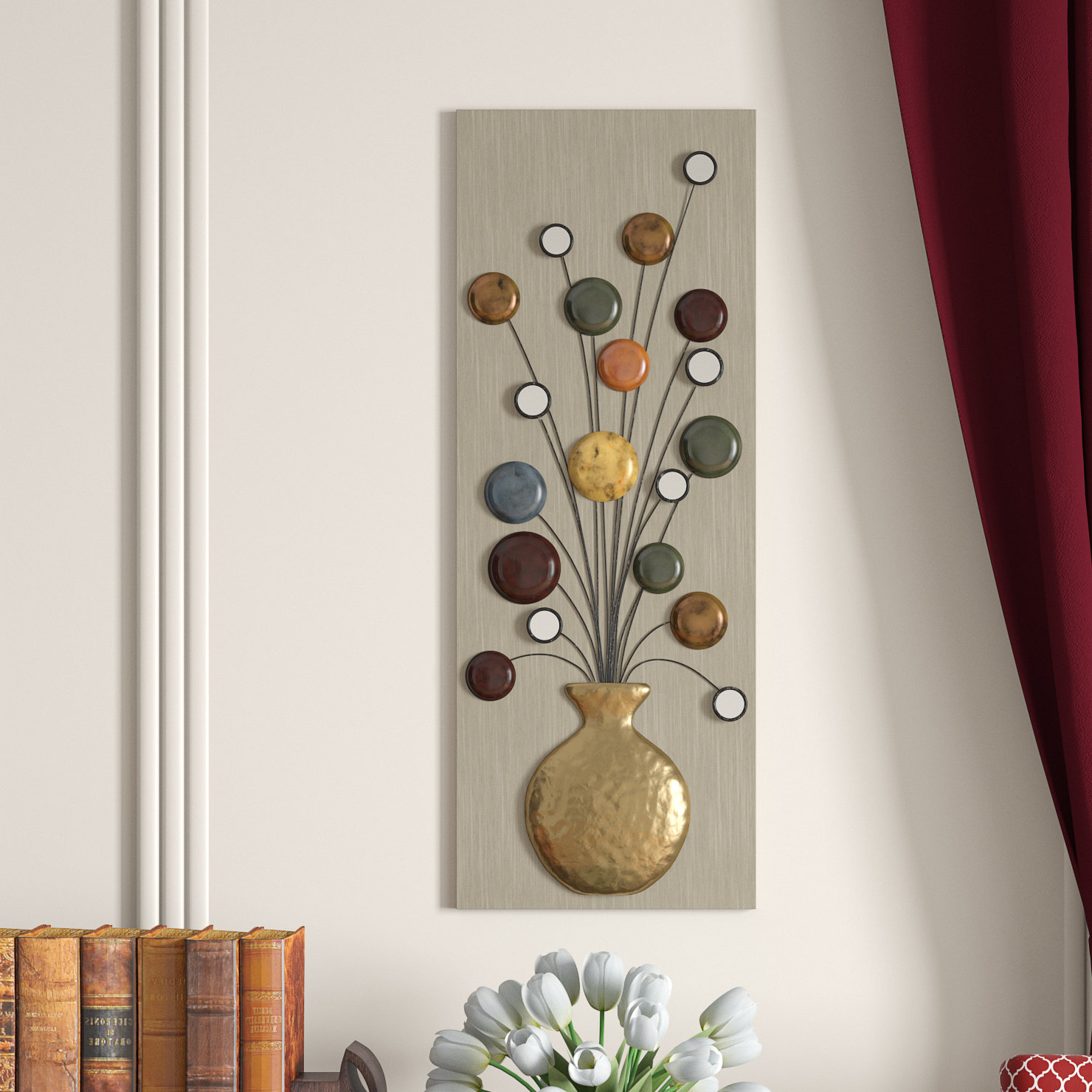 Raheem Flowers Metal Wall Decor By Alcott Hill Regarding Most Recent Charlton Home Faux Vase And Flower Metal Wall Décor & Reviews (Gallery 6 of 20)