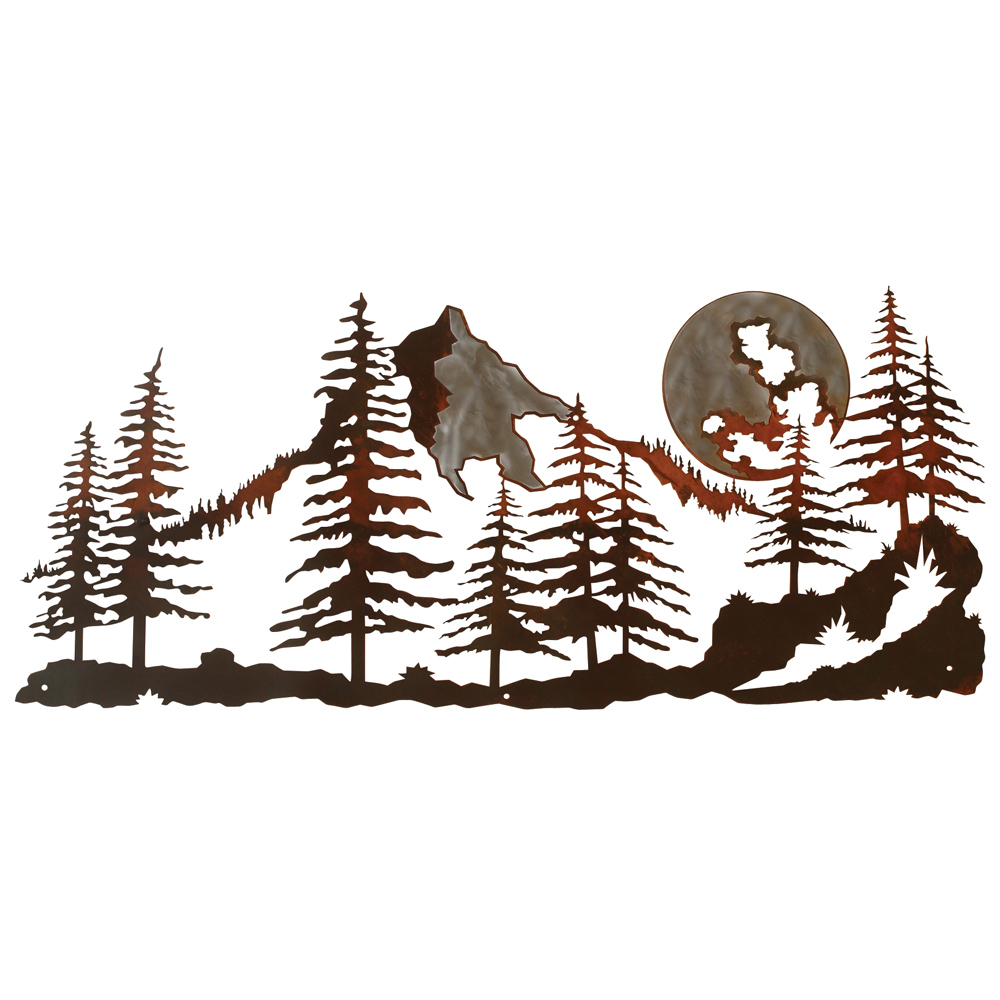 Recent Mountain Scene Burnished Metal Wall Art Regarding Contemporary Forest Metal Wall Decor (View 10 of 20)