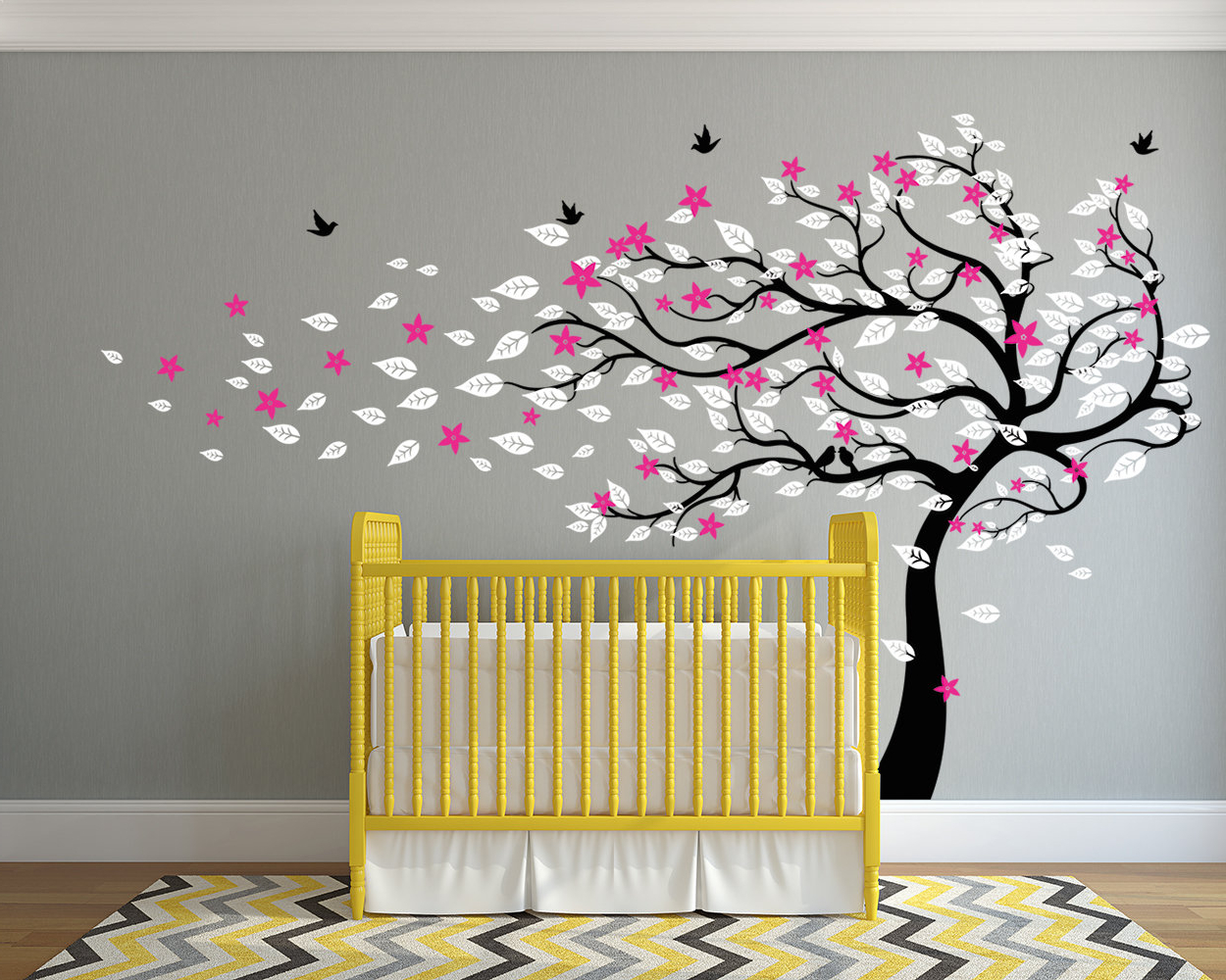 Red Barrel Studio Blowing Spring Blossom Tree With Birds Wall Decal Regarding Popular Tree Of Life Wall Decor By Red Barrel Studio (Gallery 12 of 20)