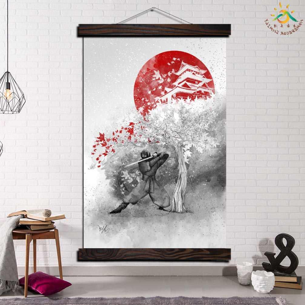Scroll Framed Wall Decor Inside Preferred Samurai Japan Single Framed Scroll Painting Modern Canvas Art Prints Poster Wall Painting Artwork Wall Art Pictures Home Decor (Gallery 7 of 20)