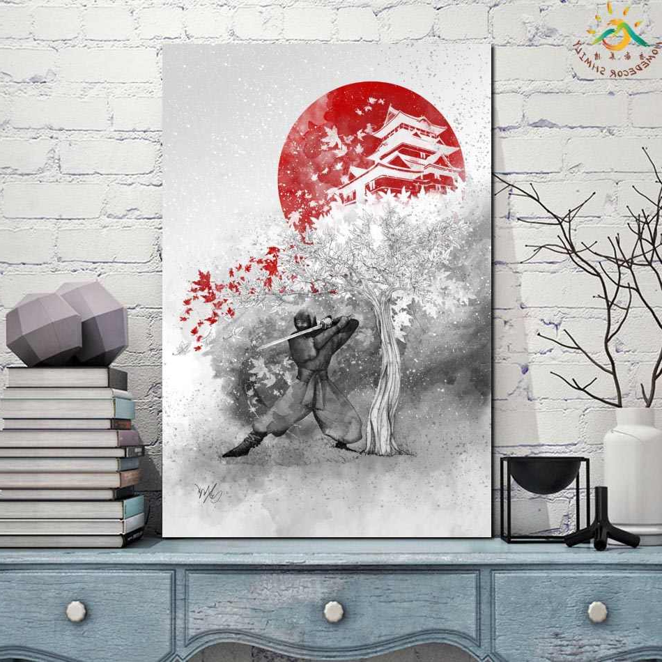 Scroll Framed Wall Decor Throughout Newest Samurai Japan Single Framed Scroll Painting Modern Canvas Art Prints Poster  Wall Painting Artwork Wall Art Pictures Home Decor (View 19 of 20)