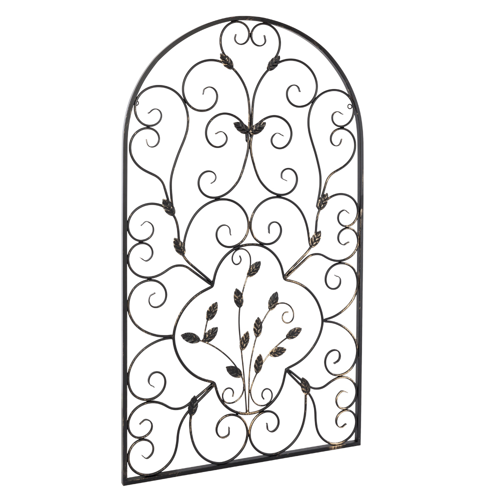 Set 2 Scroll Wall Decor Wrought Iron Metal Grille Panel Tuscan Art Throughout 2020 Scroll Leaf Wall Decor (Gallery 15 of 20)
