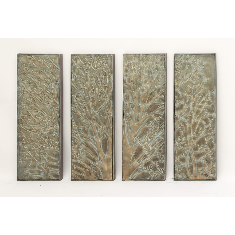 Shop Copper Grove Hyssop Metal Tree Wall Decor (Set Of 4) – Free Within Famous Metal Wall Decor (Set Of 4) (View 13 of 20)