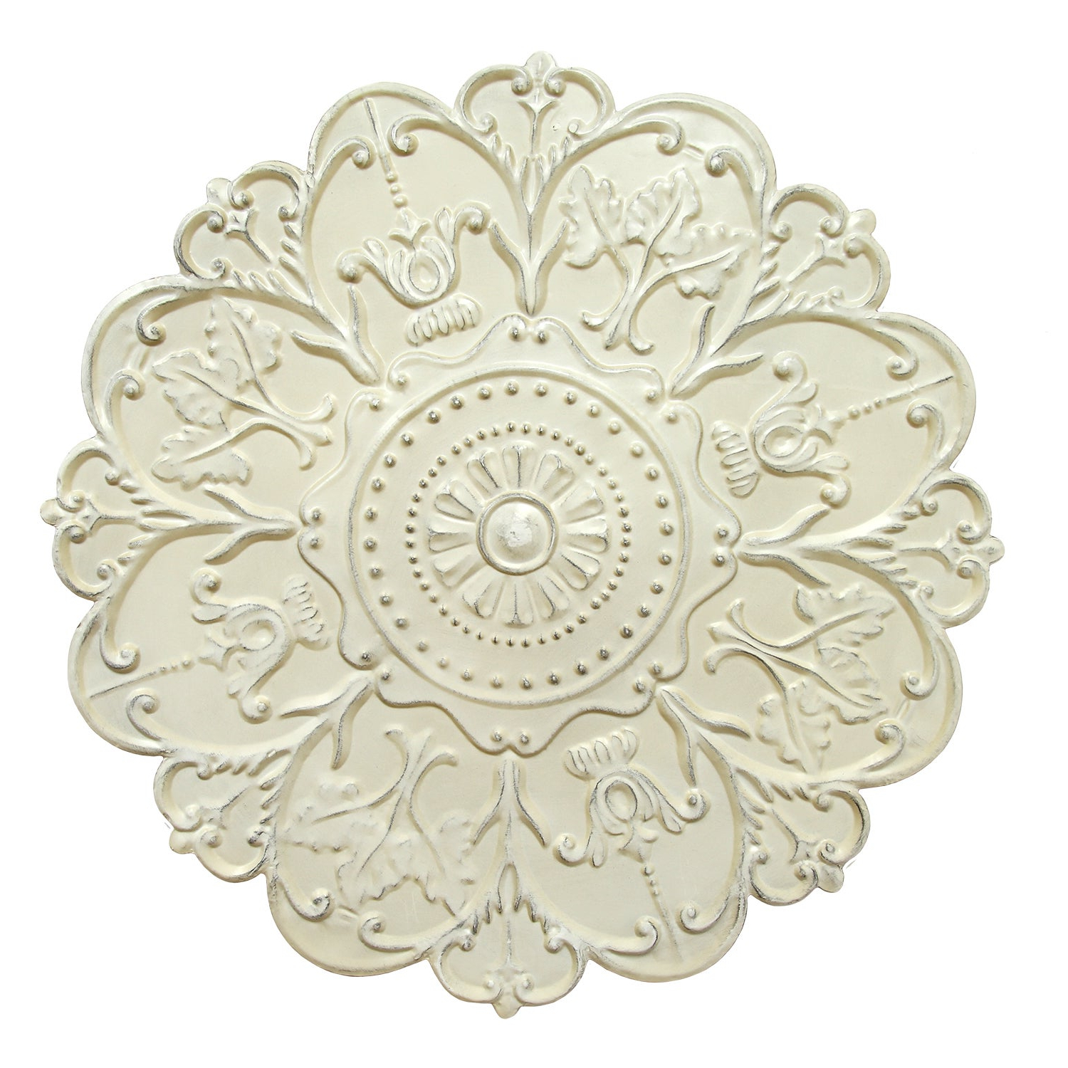 Shop Gracewood Hollow James Shabby White Medallion Wall Decor – Free Regarding Widely Used Shabby Medallion Wall Decor (View 14 of 20)