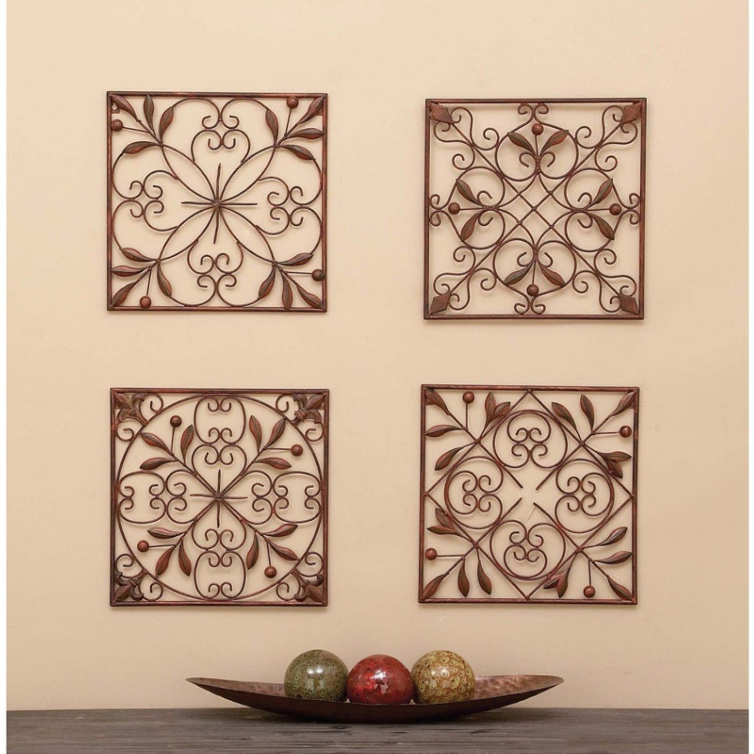 Square Metal Wall Decor Set Of 4 Home Decor Brands Intended For Favorite Metal Wall Decor (Set Of 4) (View 14 of 20)