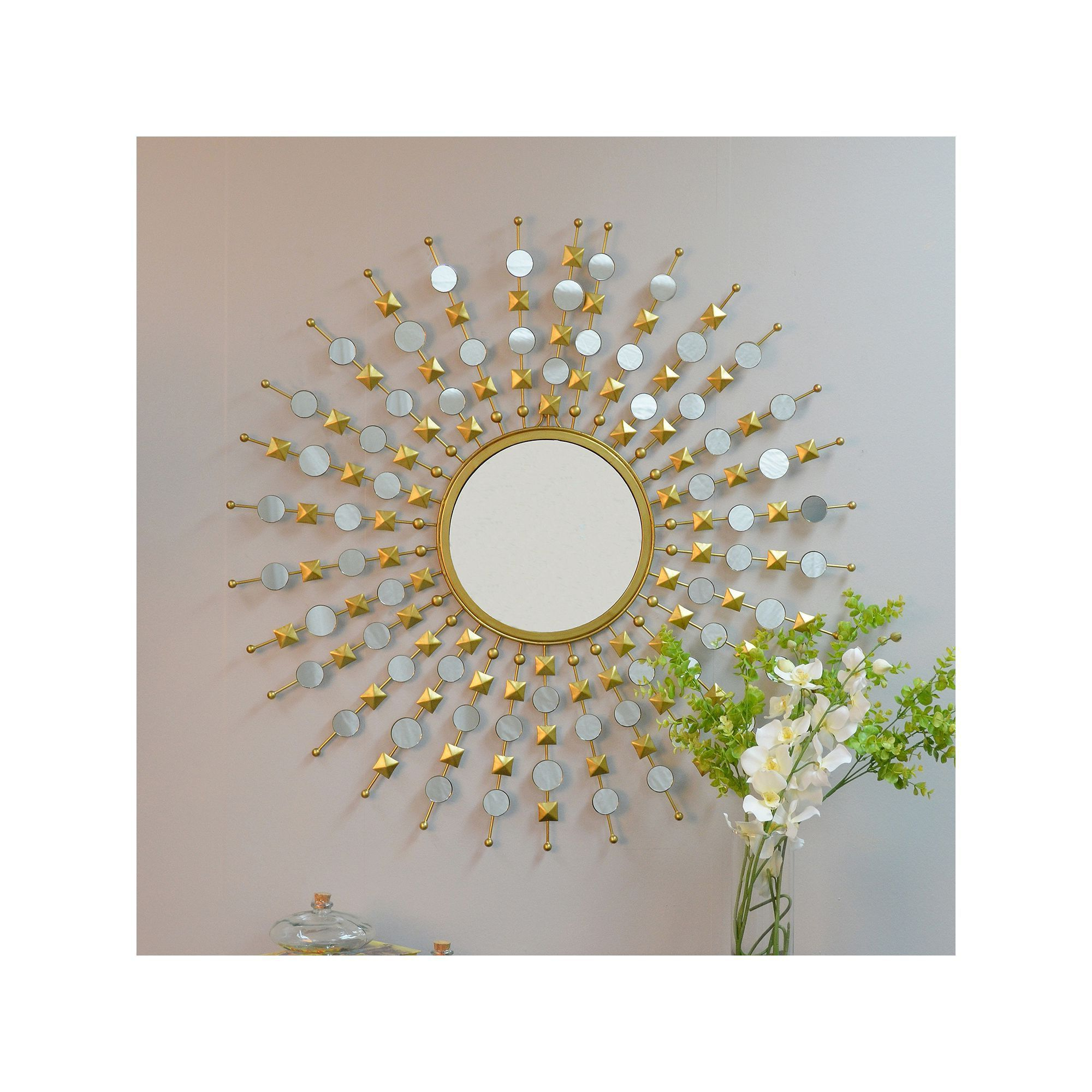 Starburst Wall Decor By Willa Arlo Interiors Throughout Favorite Carolina Forge Payton Round Wall Mirror, Gold In  (View 11 of 20)