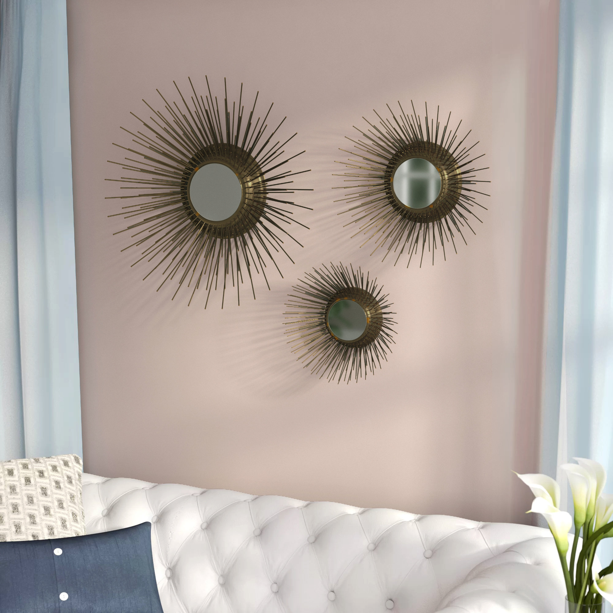 Starburst Wall Decor By Willa Arlo Interiors Within 2019 Willa Arlo Interiors Warfel 3 Piece Sunburst Triptych Mirror Set (View 12 of 20)