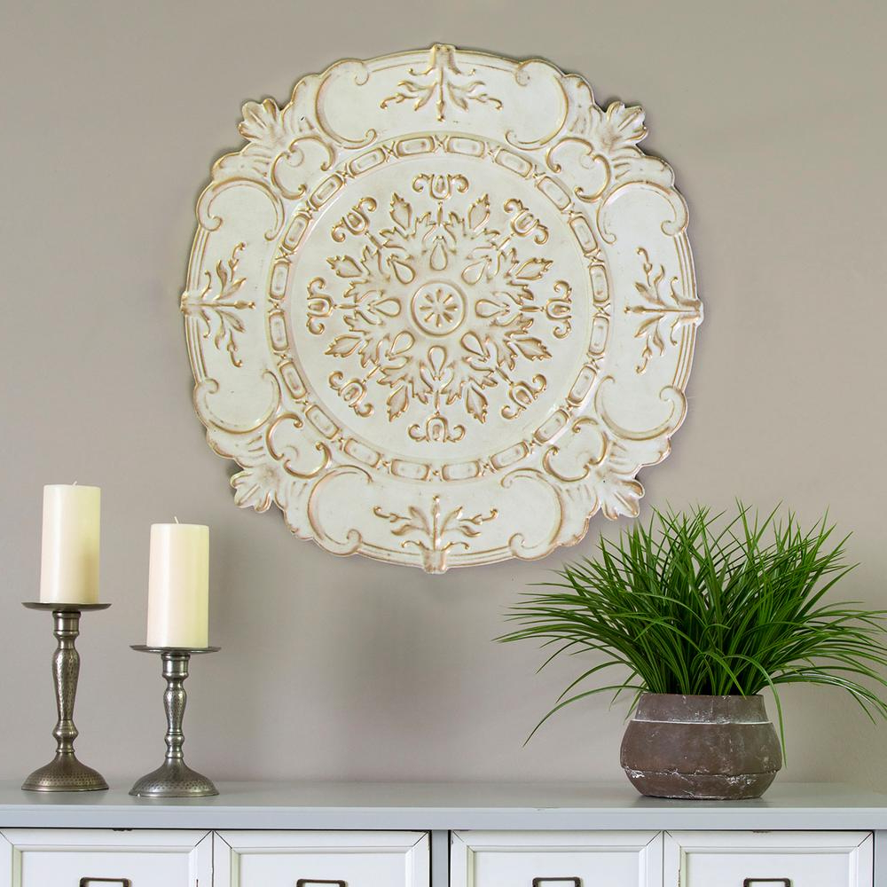 Stratton Home Decor White Metal European Medallion Wall Decor S09597 Pertaining To Recent Shabby Medallion Wall Decor (View 15 of 20)