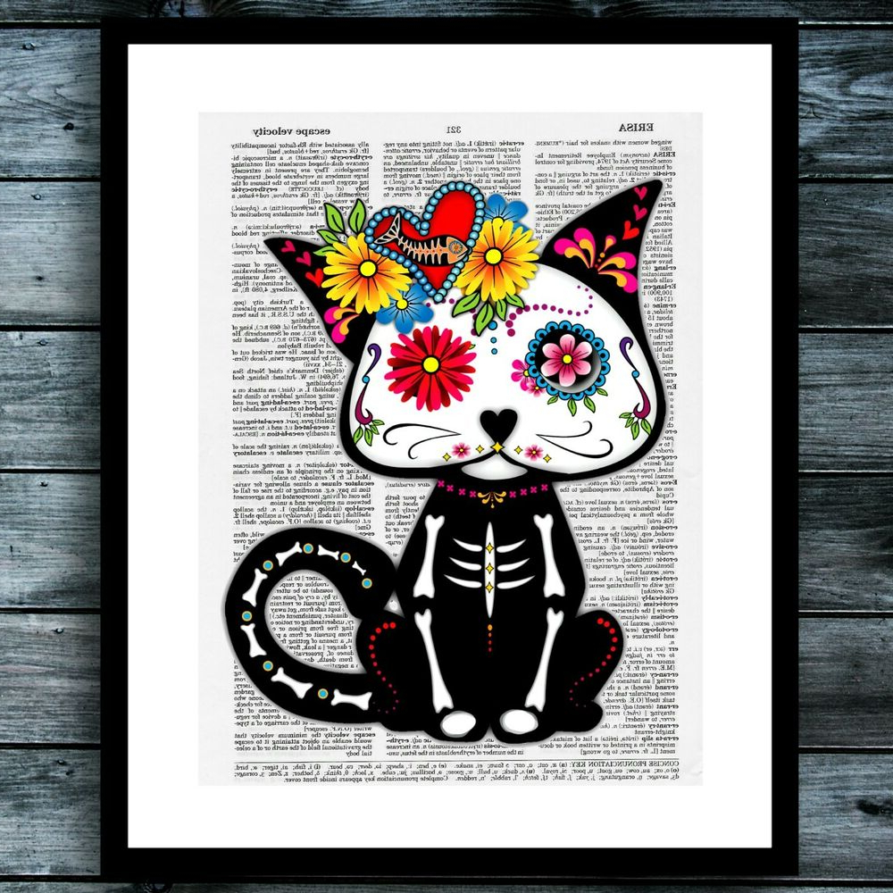 Sugar Skull Cat Bohemian Modern Vintage Dictionary Poster Wall Art Pertaining To Most Recently Released Dance Of Desire Wall Decor (View 18 of 20)