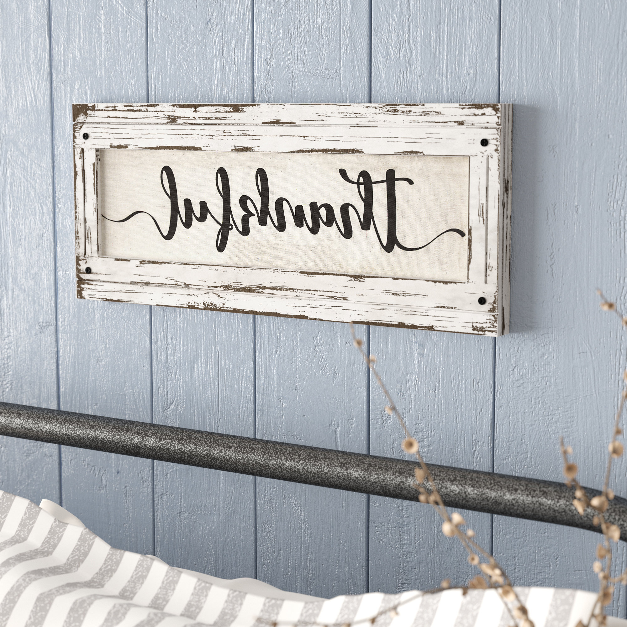 Thankful' Wood Framed Inspirational Canvas Sign Farmhouse Wall Décor Pertaining To 2019 Fawcett Thankful Heart Wall Decor (Gallery 6 of 20)