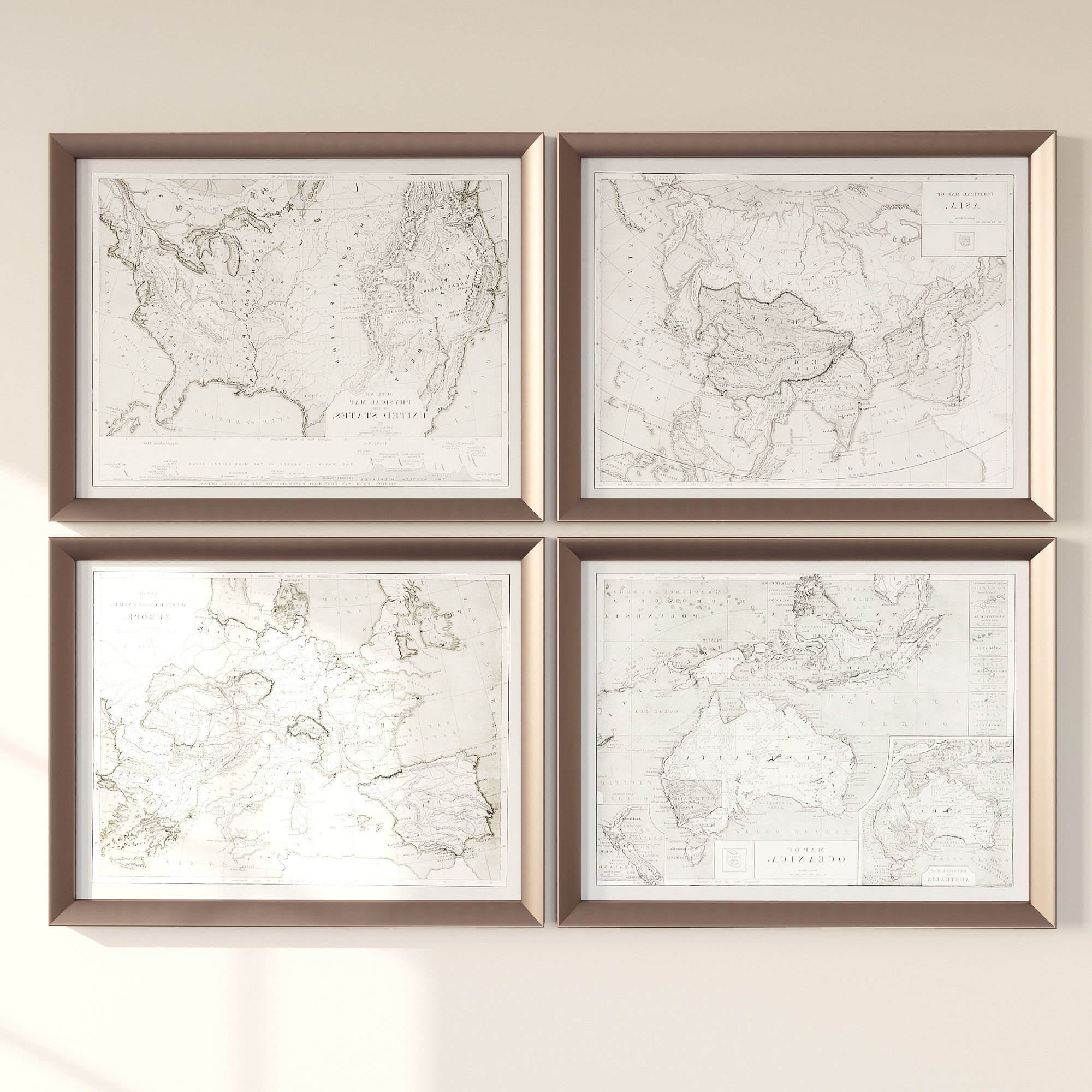 Three Posts 'world Maps' 4 Piece Framed Graphic Art Set & Reviews Pertaining To Recent 4 Piece Wall Decor Sets By Charlton Home (View 4 of 20)