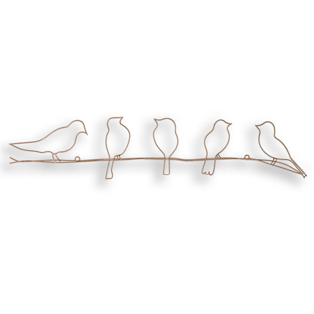 "Trendy Rioux Birds On A Wire Wall Decor Inside Graham & Brown 24 In. X 5 In. ""soft Rose Gold Bird On A Wire"" Metal (Gallery 9 of 20)"