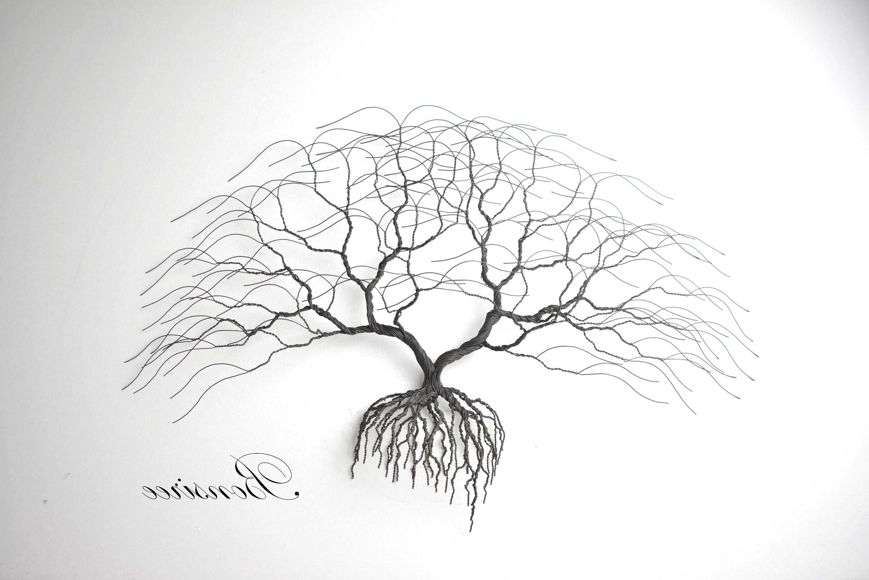 Trendy Windswept Tree Wall Decor By World Menagerie With Regard To New Black Metal Tree Wall Art, Luxury Japanise Bonsai Wire Tree (View 7 of 20)