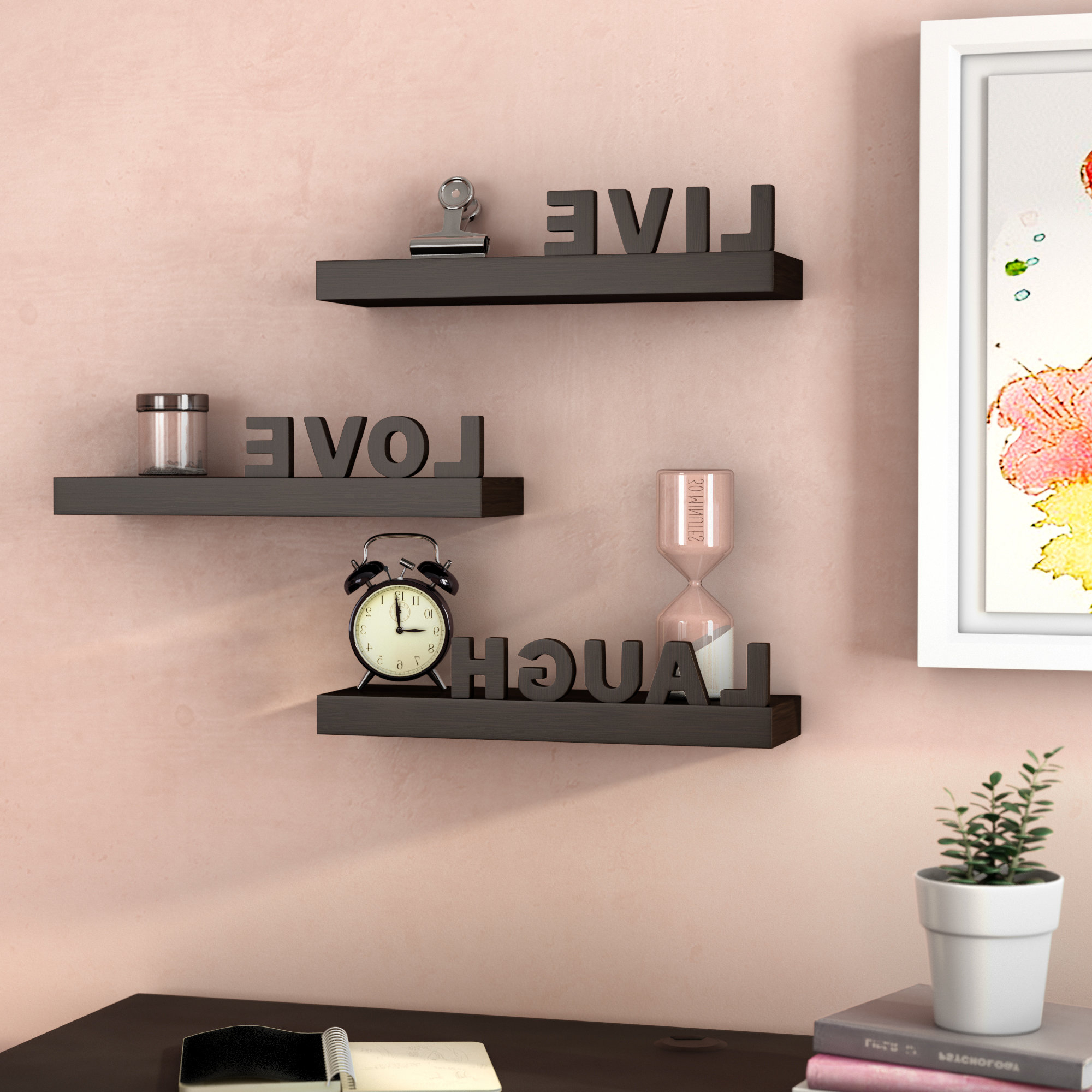 Trendy Wrought Studio Howton 3 Piece Live Love Laugh Floating Wall Shelf In Live Love Laugh 3 Piece Black Wall Decor Sets (View 15 of 20)