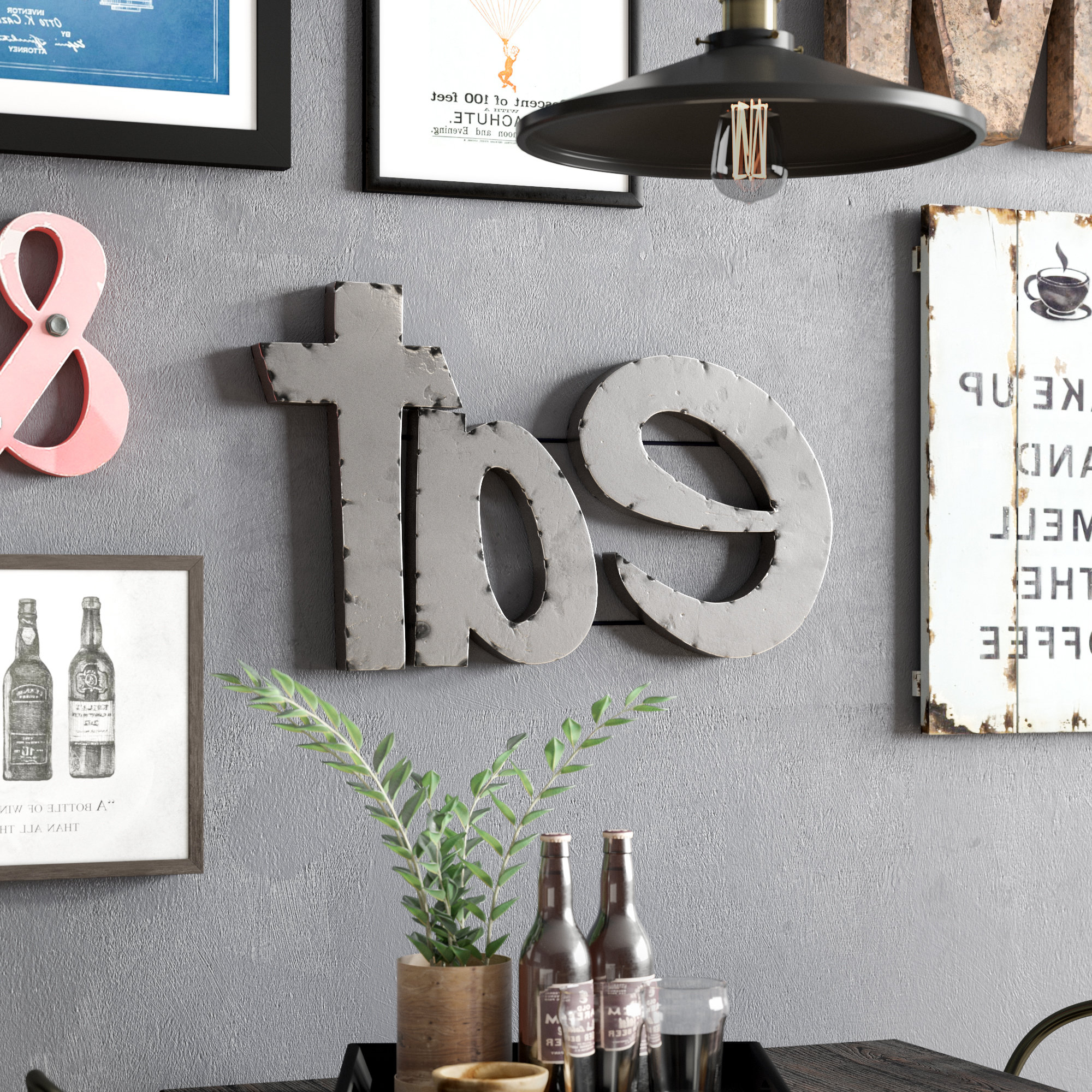 """Trent Austin Design Grey """"eat"""" Sign With Rebar Décor & Reviews (Gallery 1 of 20)"""