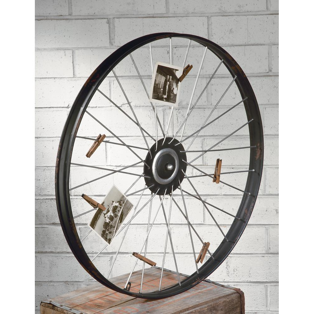 Tripar International Metal Wheel Wall Decor With Clips For Photos Or In Latest Millanocket Metal Wheel Photo Holder Wall Decor (View 3 of 20)