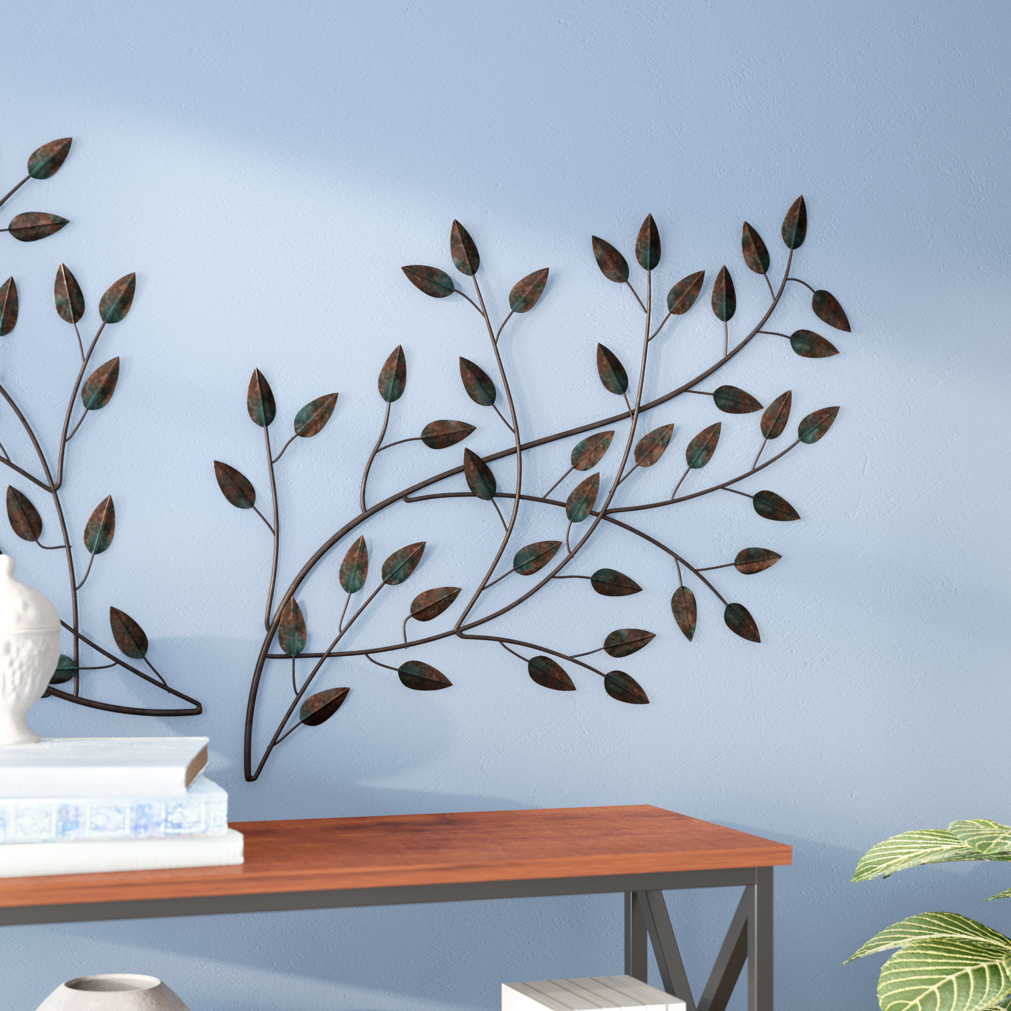Featured Photo of Leaves Metal Sculpture Wall Decor By Winston Porter