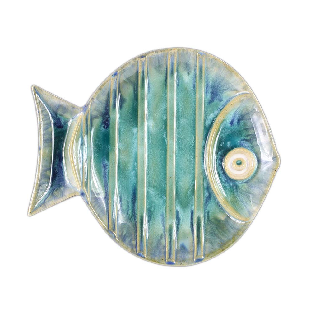 Well Known Ceramic Blue Fish Plate Wall Decor Pertaining To Amazon: Chinoiseriehouse Sea World Ceramic Wall Decor Fish (View 7 of 20)